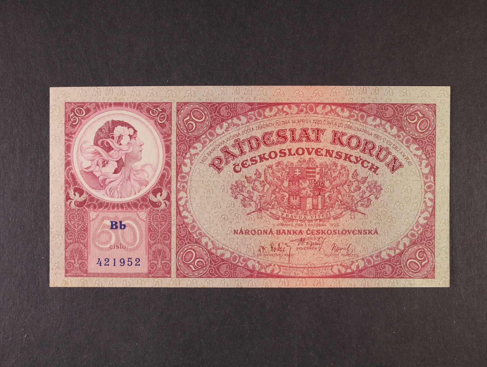 50 Kč 1.10.1929 série Bb, Ba. 24b, Pi. 22a