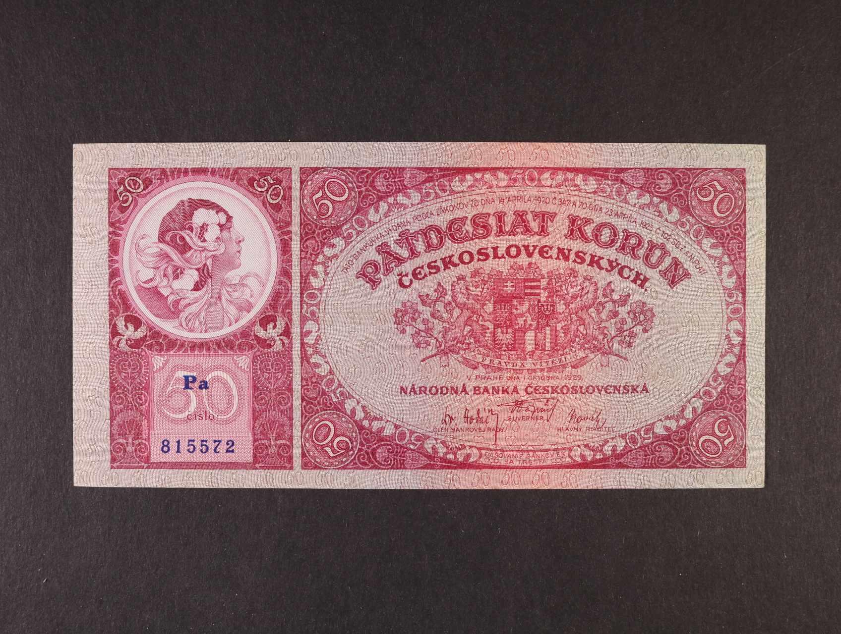 50 Kč 1.10.1929 série Pa, Ba. 24b, Pi. 22a