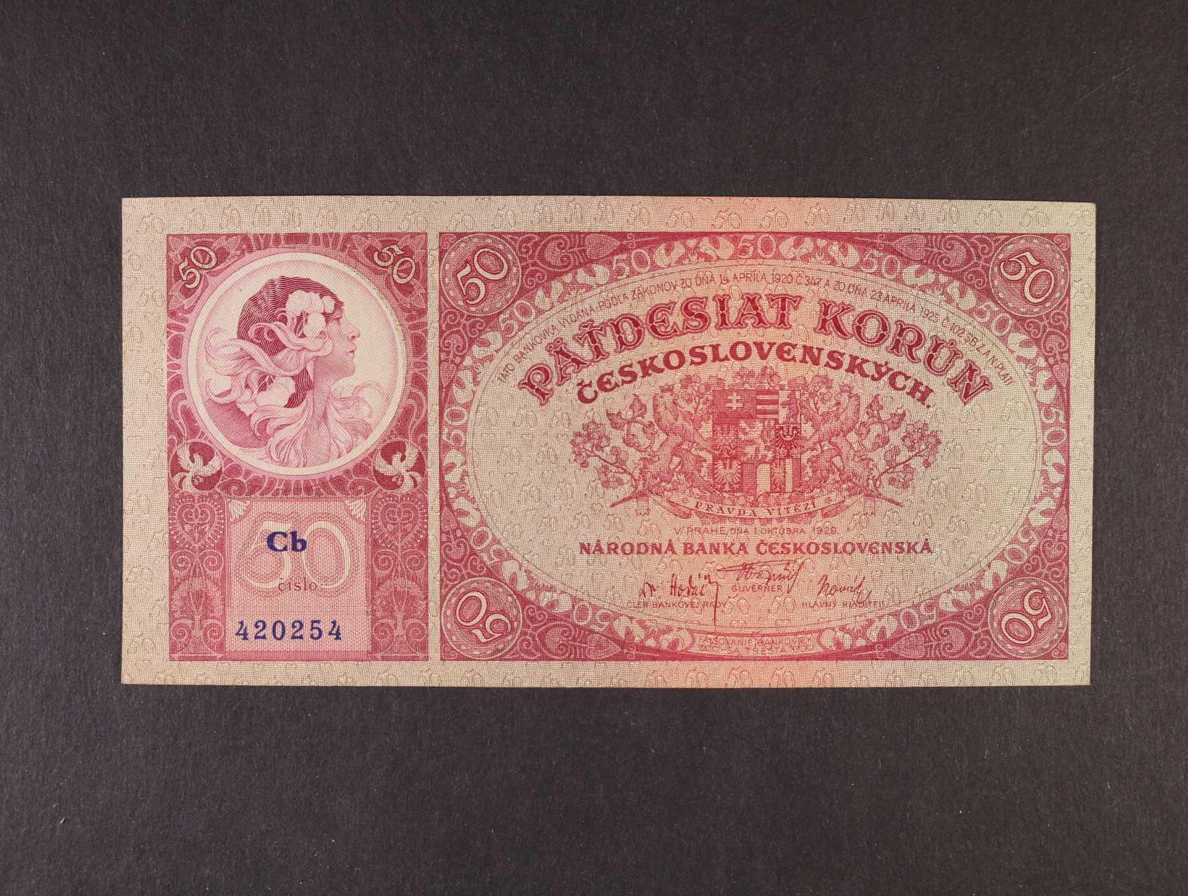 50 Kč 1.10.1929 série Cb, Ba. 24b, Pi. 22a