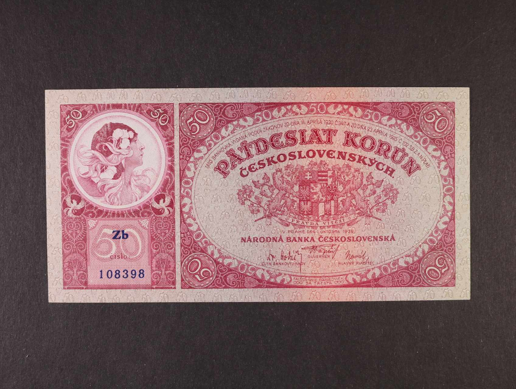 50 Kč 1.10.1929 série Zb, Ba. 24b, Pi. 22a