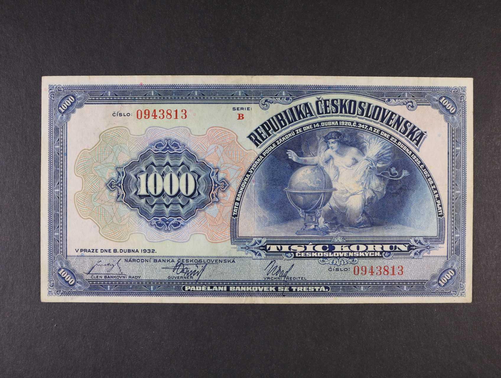 1000 Kč 8.4.1932 série B, Ba. 26, Pi. 25a
