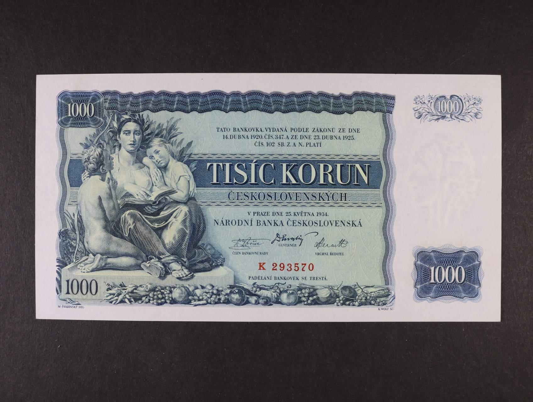 1000 Kč 25.5.1934 série K, Ba. 27, Pi. 26a