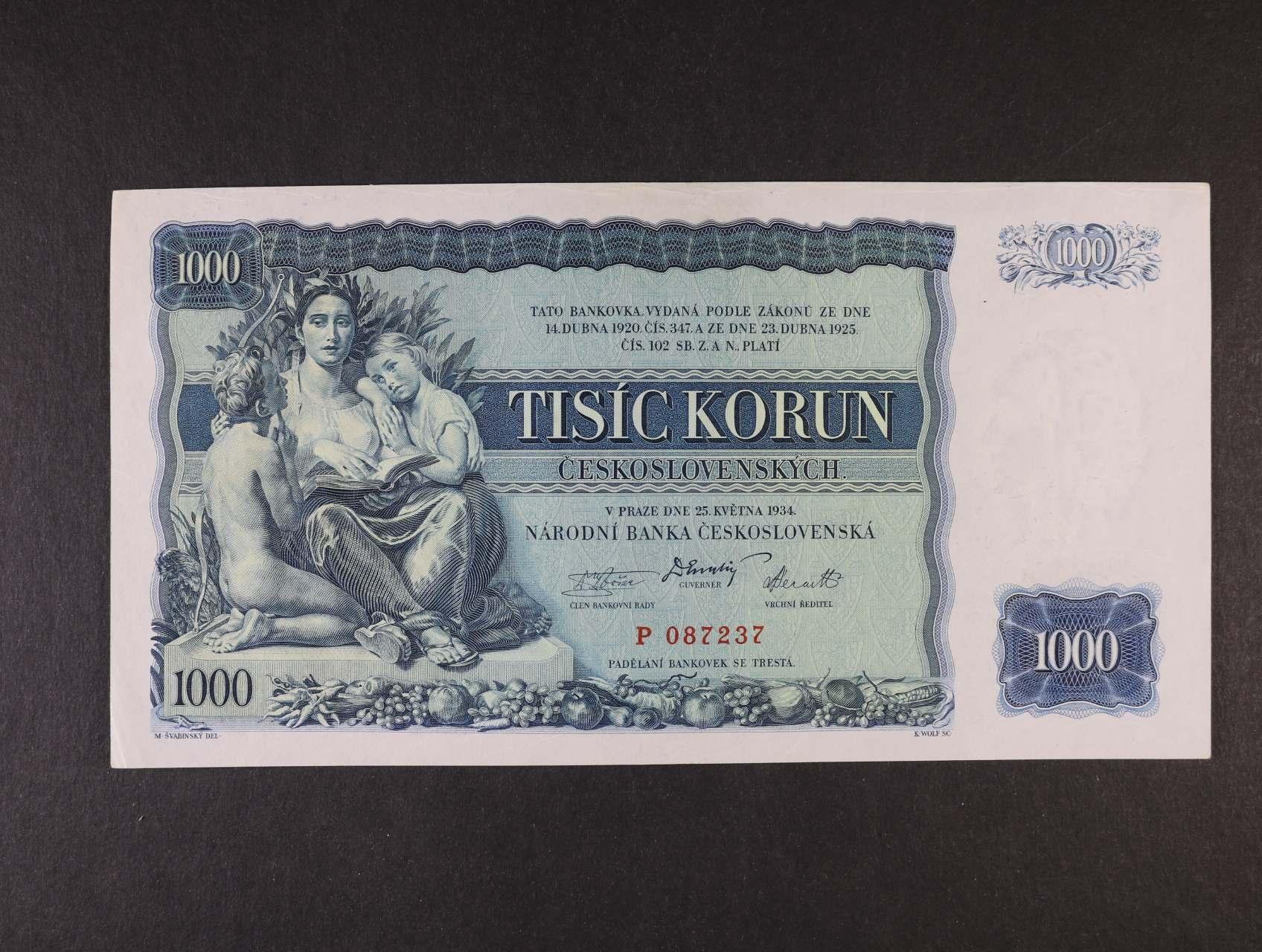 1000 Kč 25.5.1934 série P, Ba. 27, Pi. 26a