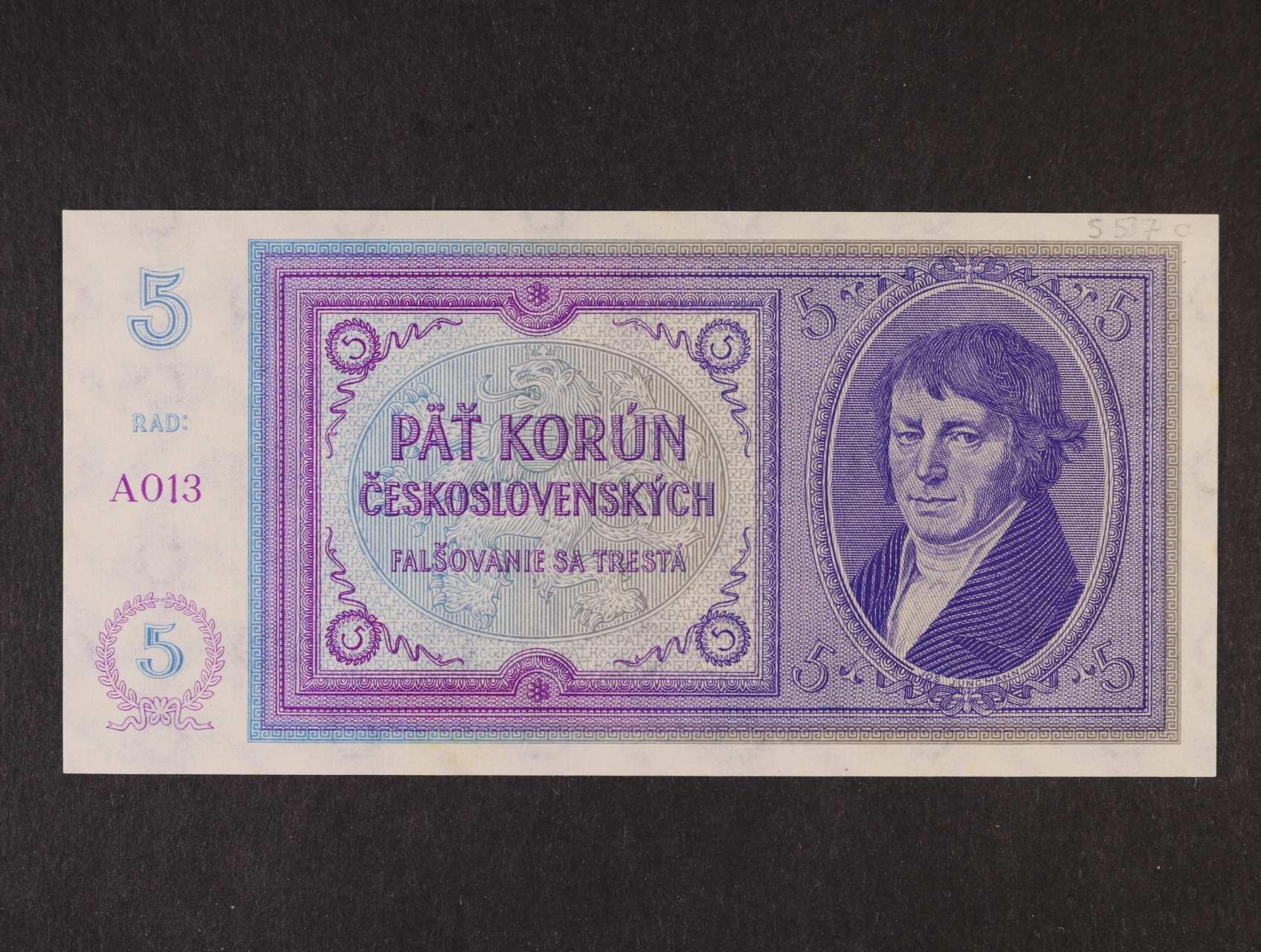 5 Kč 1938 série A 013 nevydaná, Ba. N2, Pi. 28
