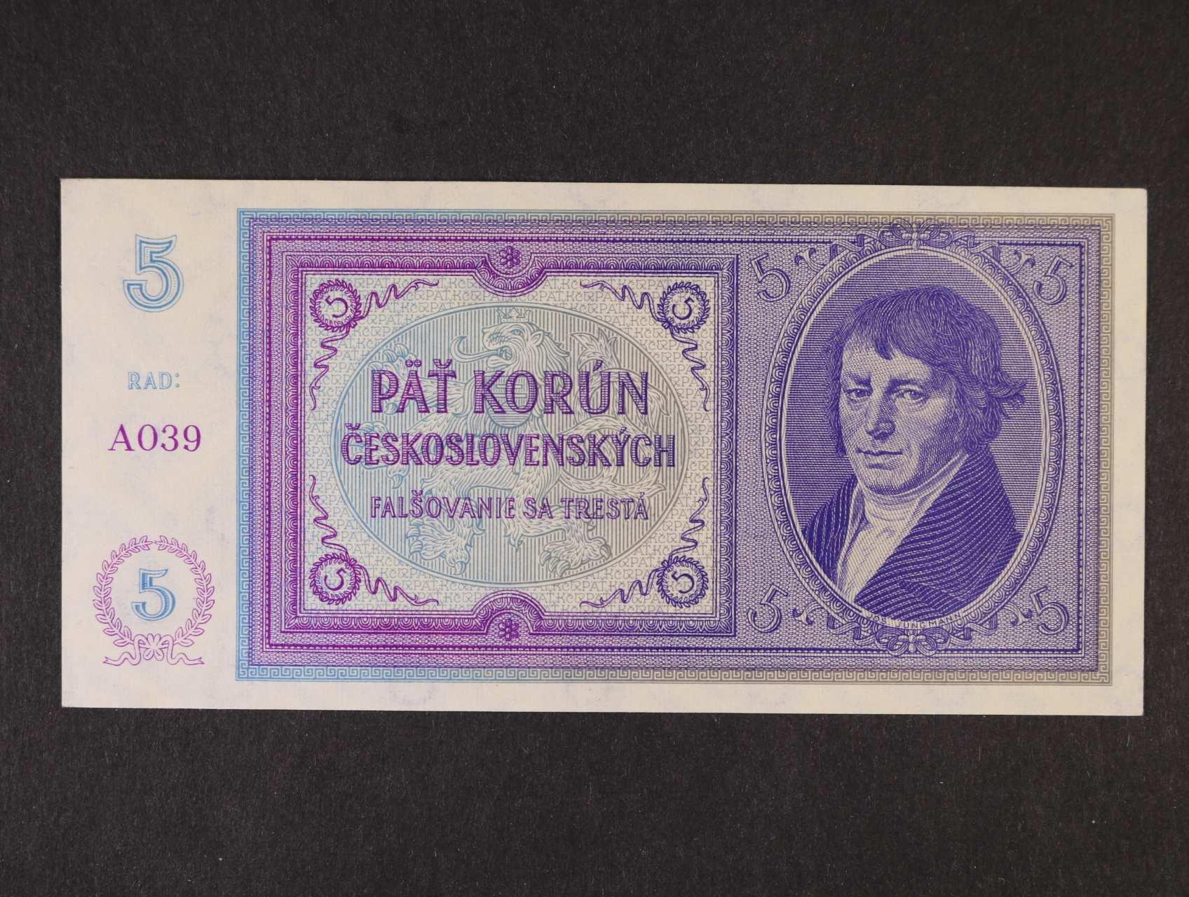 5 Kč 1938 série A 039 nevydaná, Ba. N2, Pi. 28