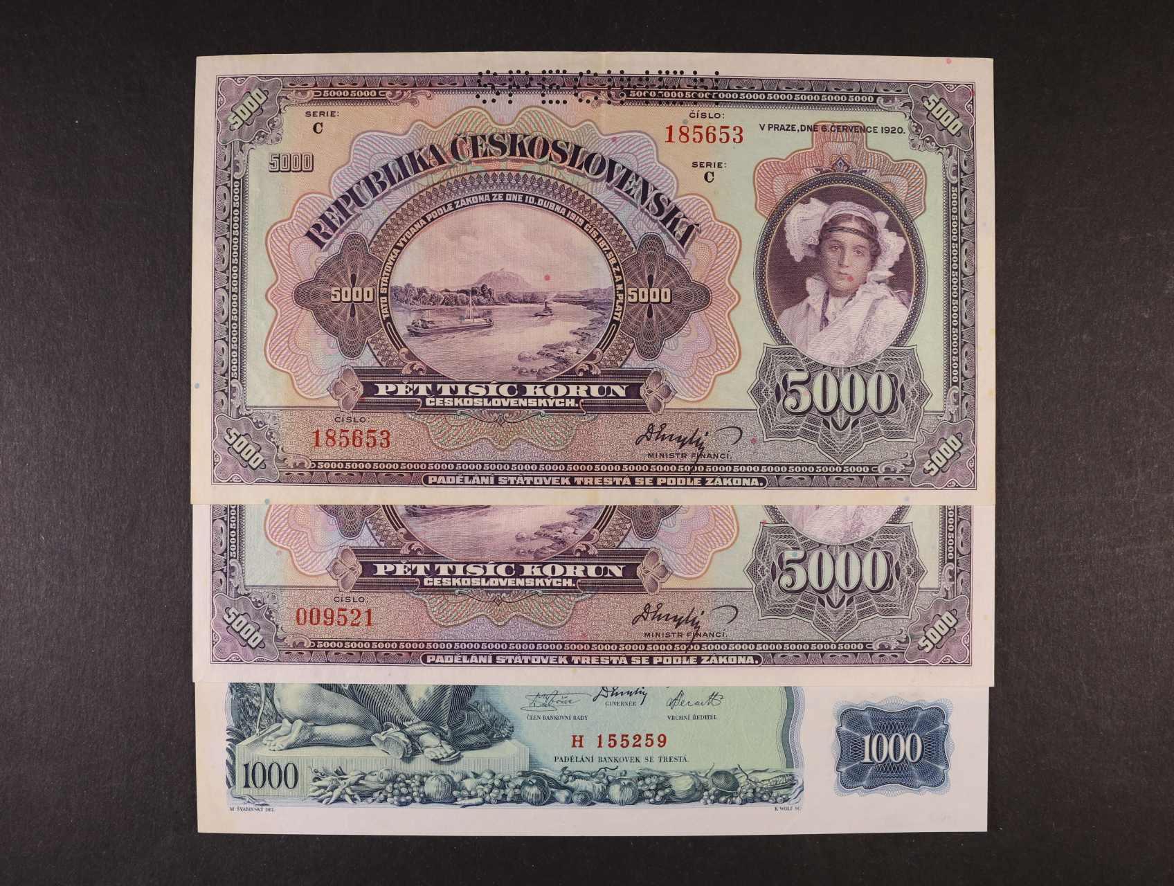 5000 Kč 6.7.1920 série B, C, 1000 Kč 25.5.1934 série H, vše perf. SPECIMEN,  Ba. 17b, c, 27, Pi. 17s, 26s