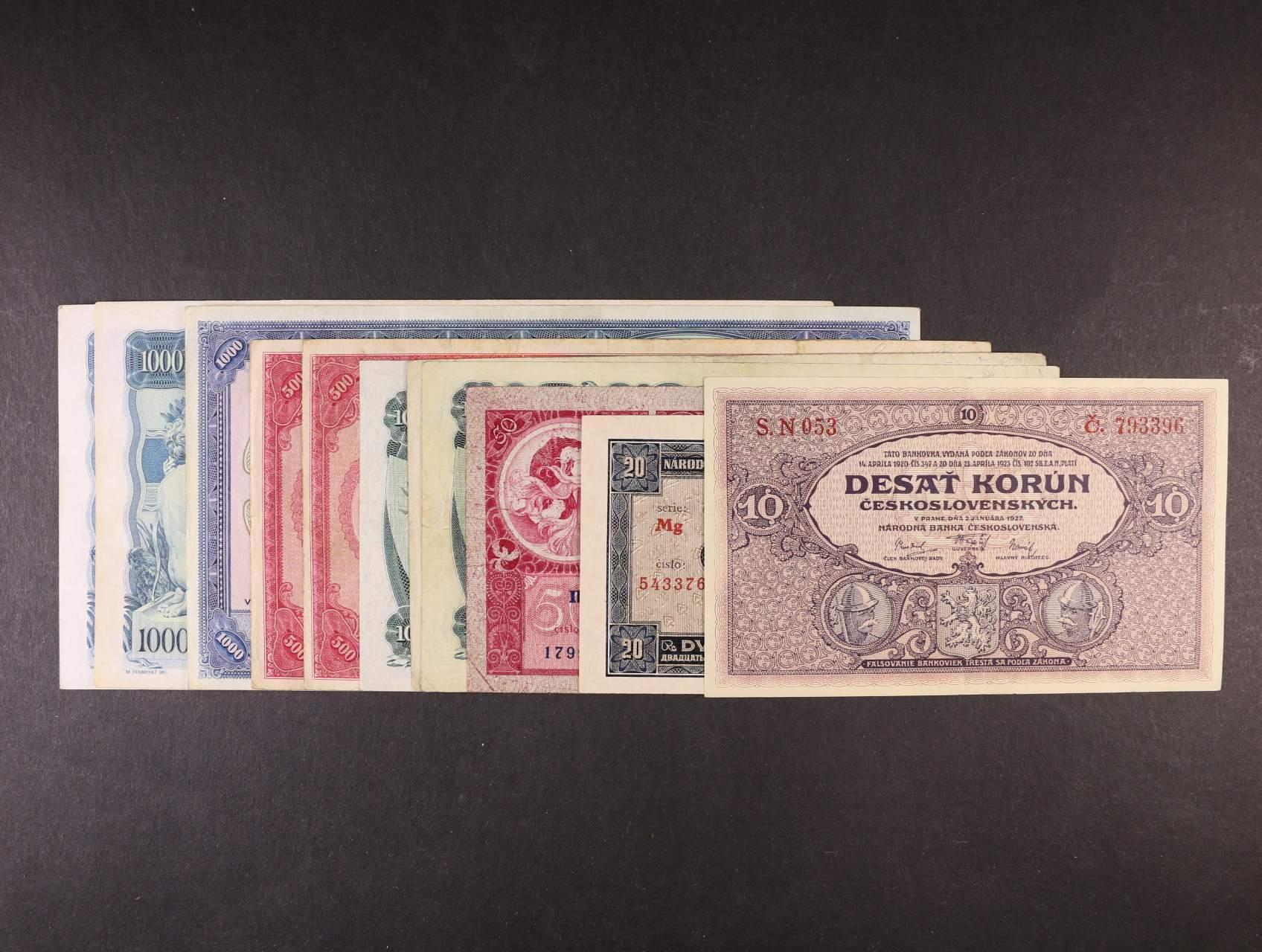 sada bankovek - 10 Kč 1927 sér. N, 20 Kč 1926, 50 Kč 1929, 100 Kč 1931 I.vyd., II.vyd., III.vyd., 500 Kč 1929 sér. C, D, 1000 kč 1932 sér. C, 1000 Kč 1934 sér. G, J, celkem 11ks