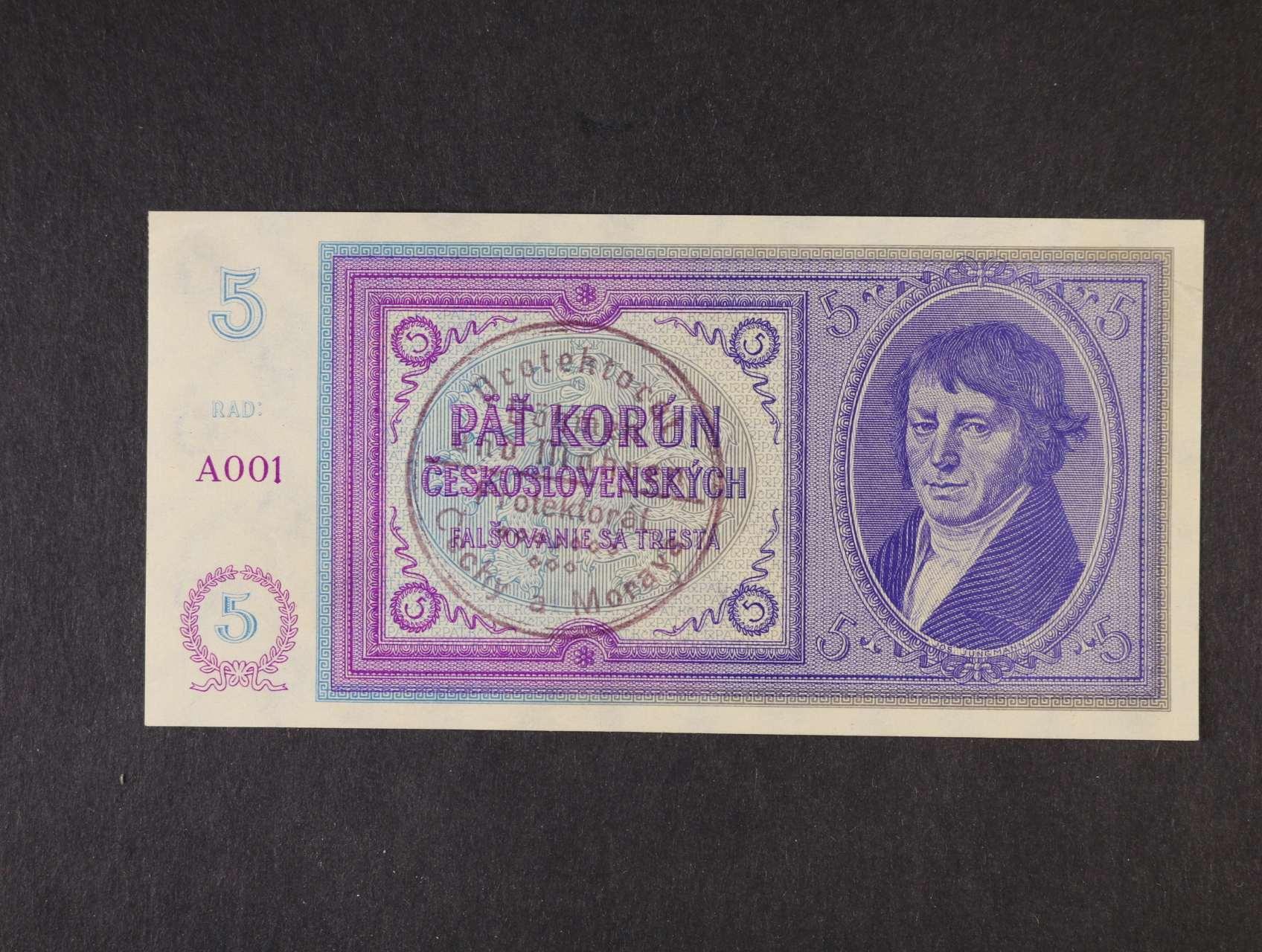 5 Kč 1938/40 s ručním raz. série A 001, Ba. 29a, Pi. 2a