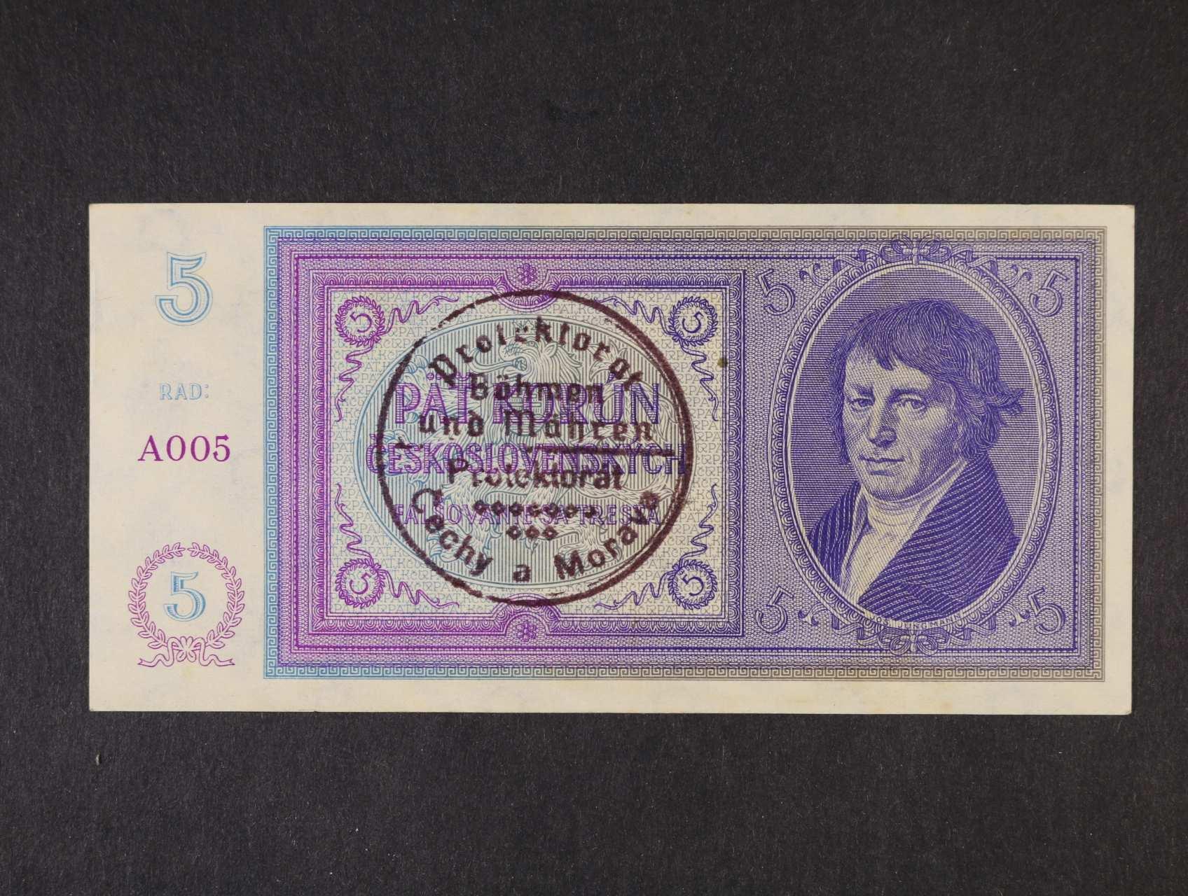 5 Kč 1938/40 s ručním raz. série A 005, Ba. 29a, Pi. 2a