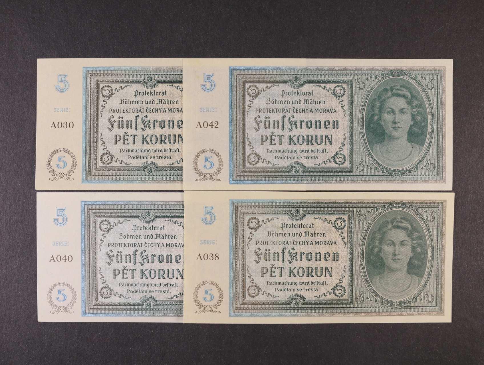 5 K 1940 série A 030, 038, 040, 042, Ba. 31, Pi. 4a, 4ks