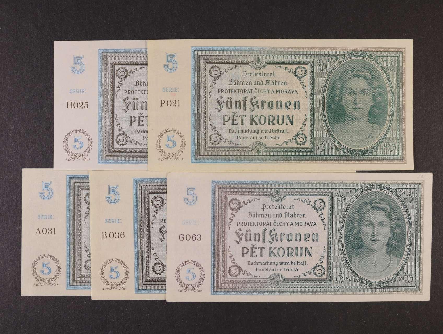 5 K 1940 série A 031, B 036, G 063, P 021, H 025, Ba. 31, Pi. 4a