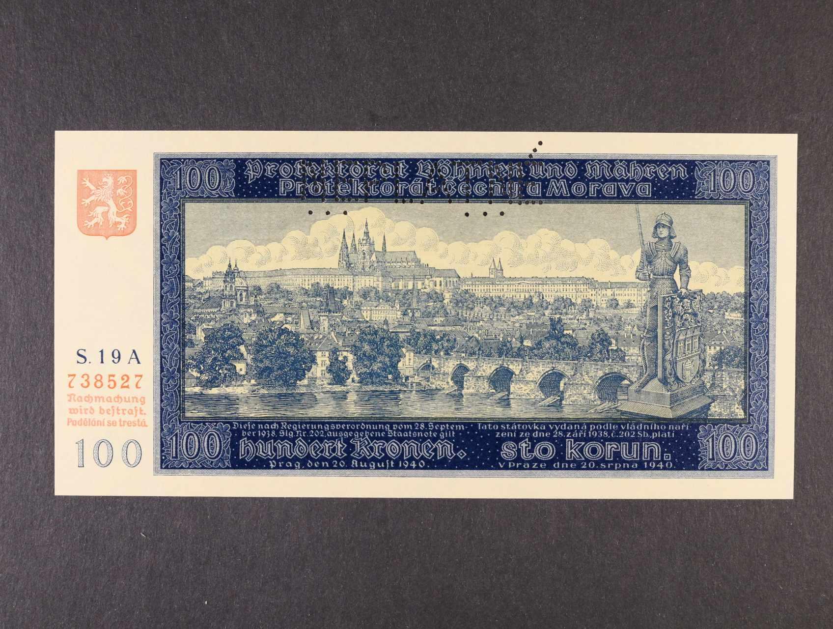 100 K 20.8.1940 I.vydání série 19 A s perf. NEPLATNÉ, Ba. 32, Pi. 6S