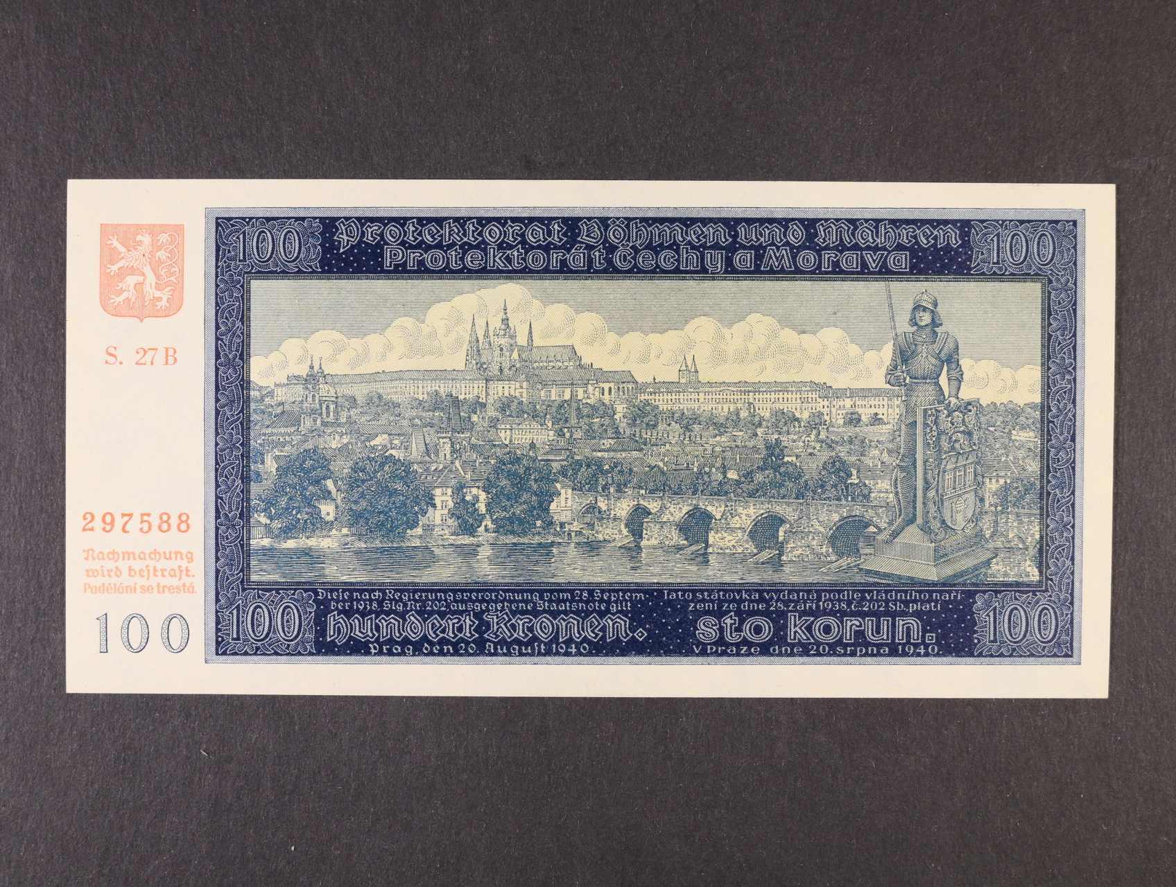 100 K 20.8.1940 II.vydání série 27 B, Ba. 33a, Pi. 7a
