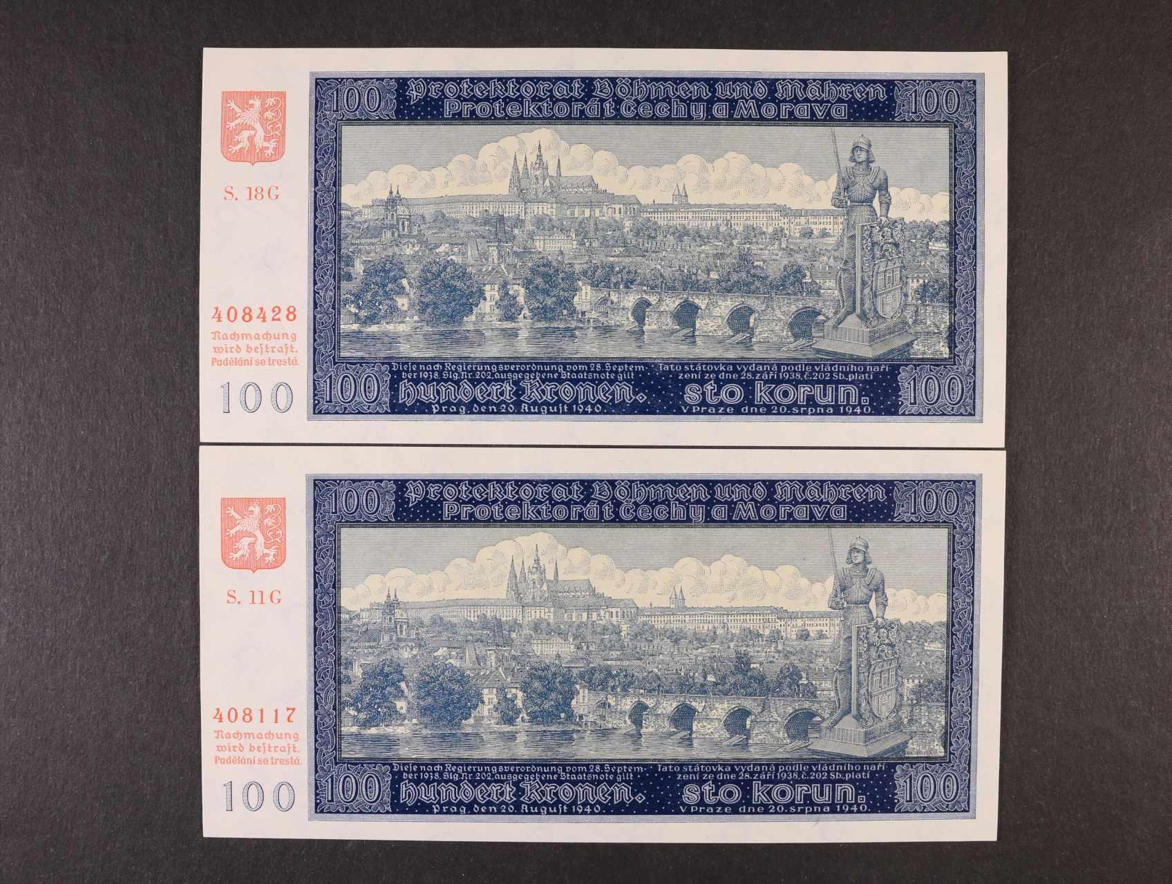 100 K 20.8.1940 II.vydání série 11 G, 18 G, Ba. 33a, Pi. 7a, 2ks