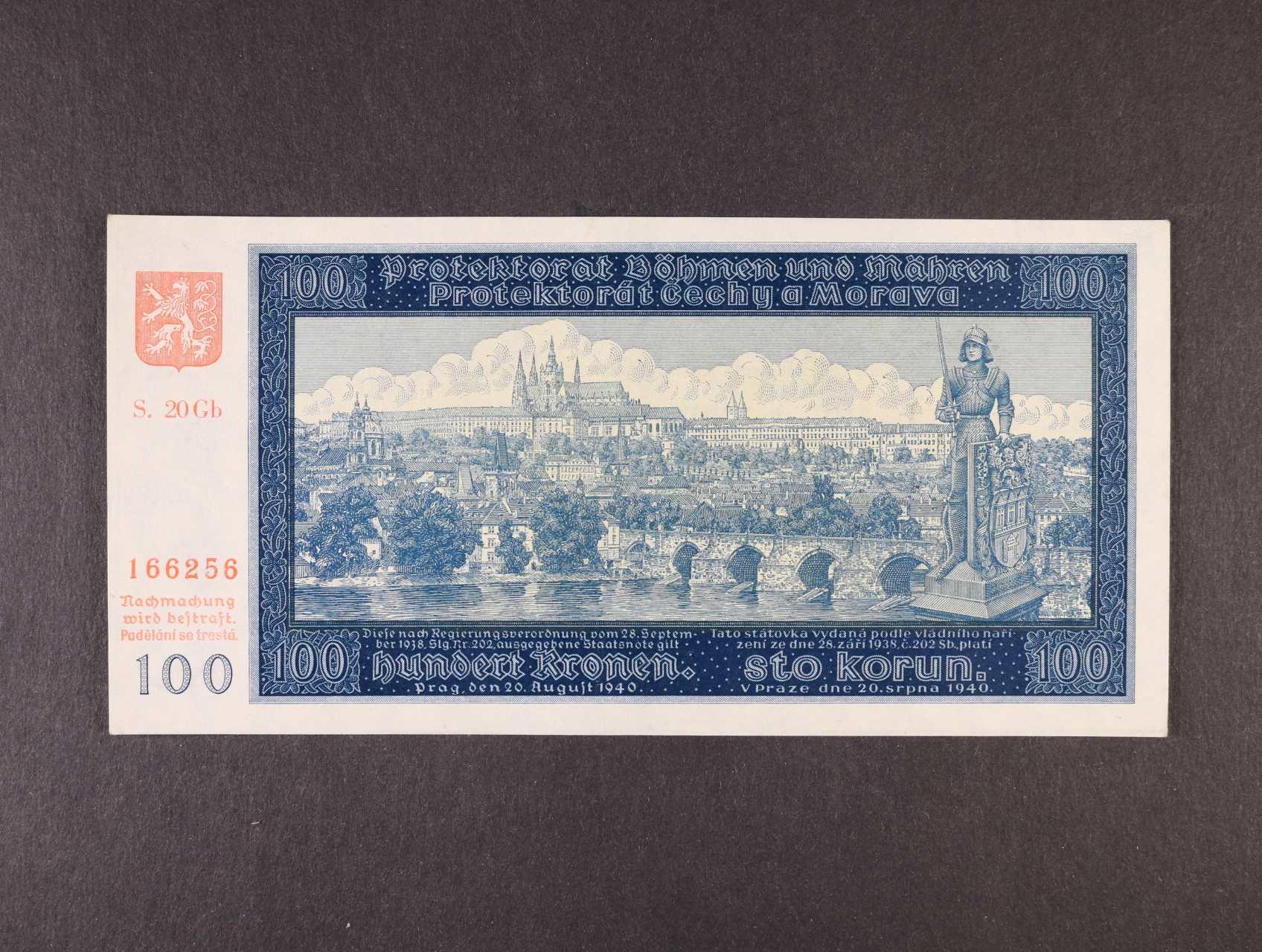 100 K 20.8.1940 II.vydání série 20 Gb, Ba. 33b, Pi. 7