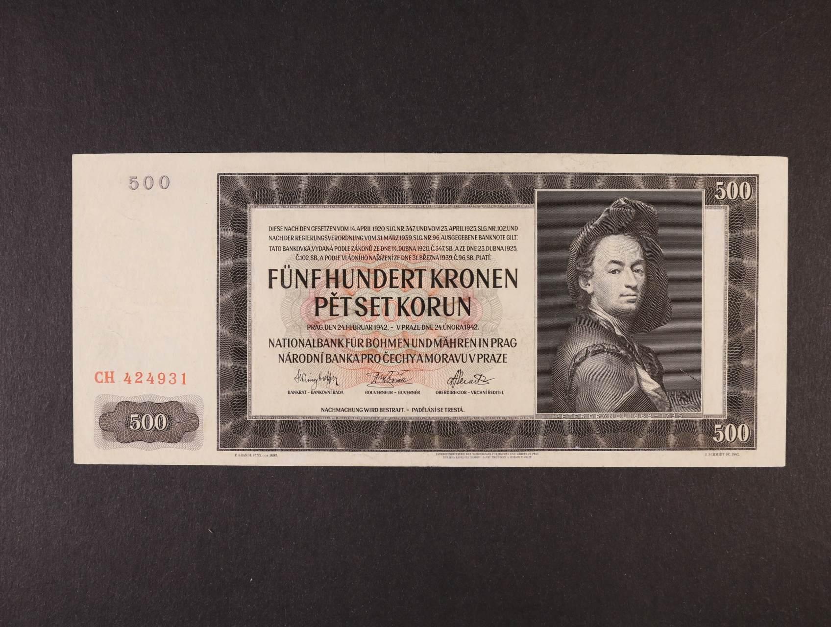 500 K 24.2.1942 I.vydání série CH, Ba. 35, Pi. 11a