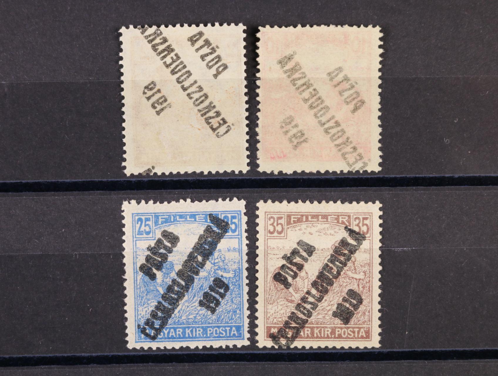 zn. č. 101 a 105 s kompl. obtiskem přetisku a zn. č. 108 a 109 se silným a dvojitým přetiskem, zk. Karásek