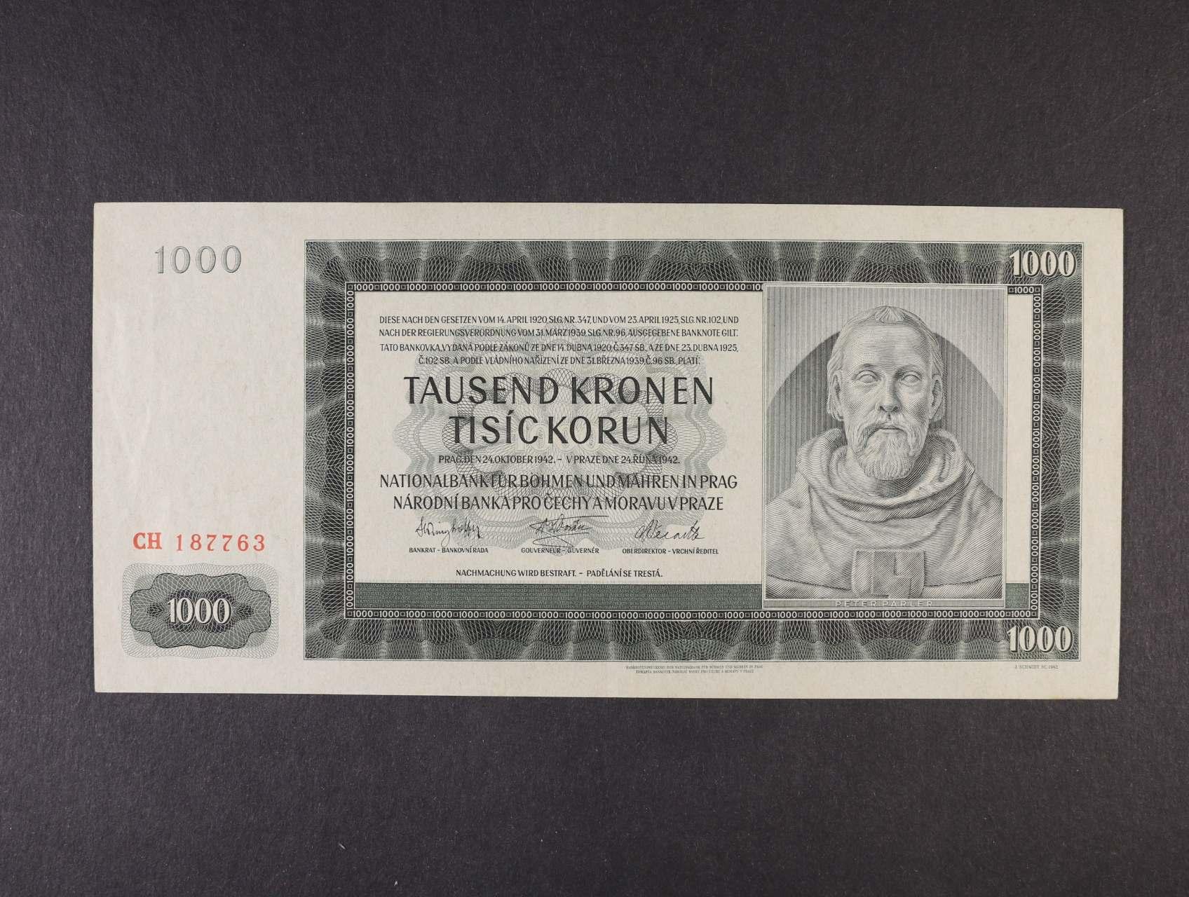 1000 K 24.10.1942 I.vydání série CH, Ba. 38, Pi. 13a