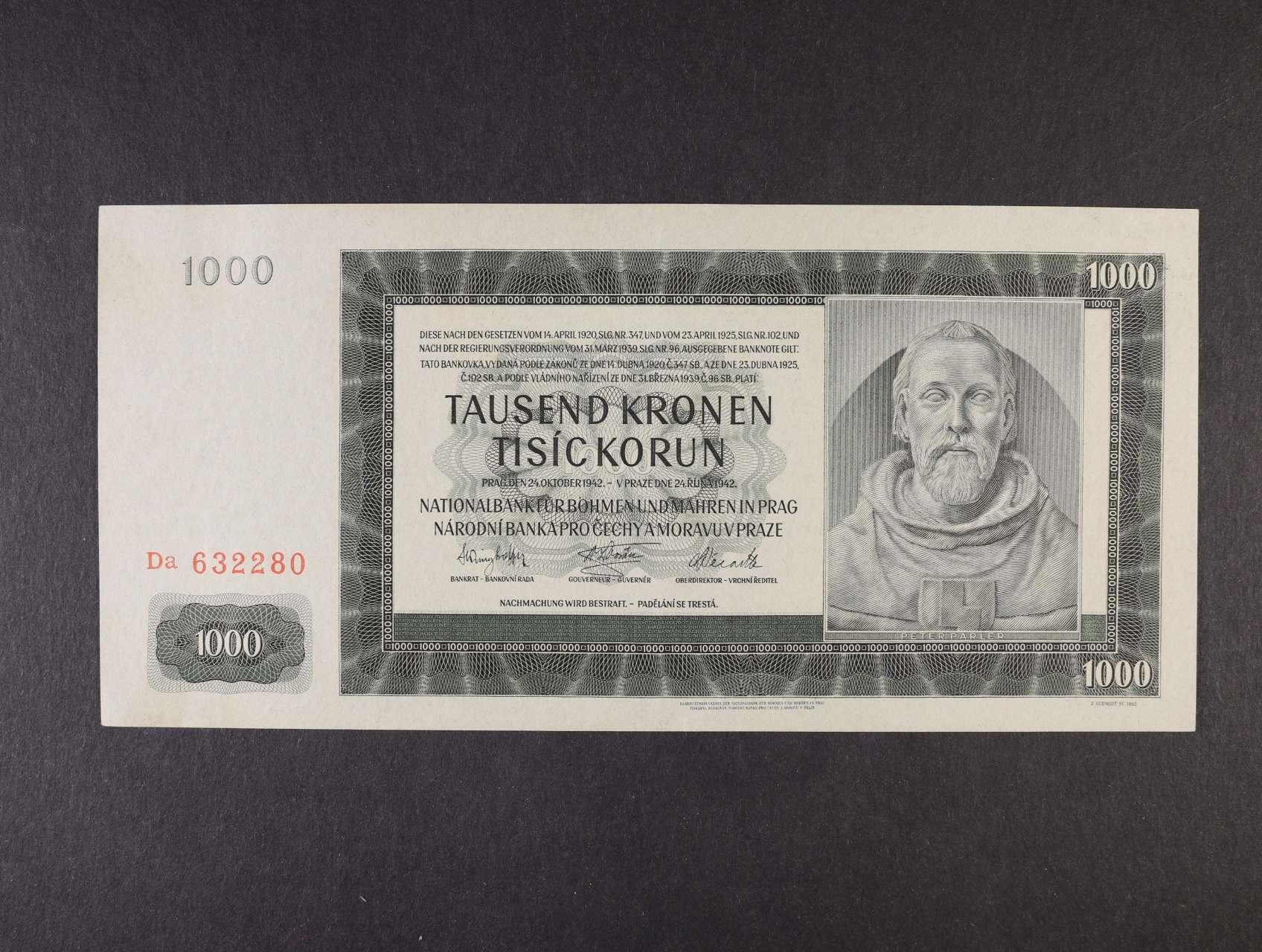 1000 K 24.10.1942 II.vydání série Da, Ba. 39a, Pi. 14a