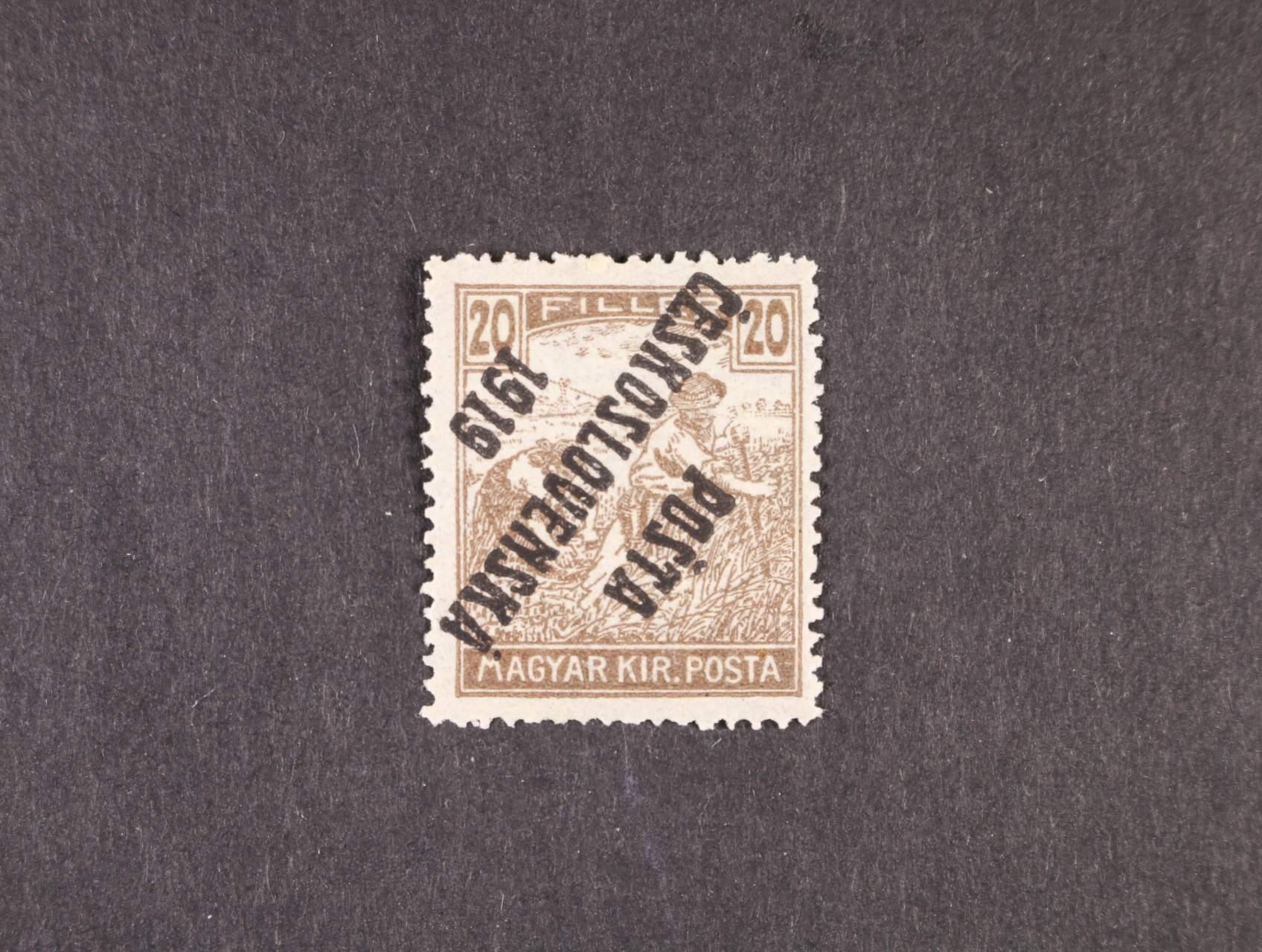 zn. č. 107 Pp převrácený přetisk, typ IV, zk. Beneš, kat. cena 2000 Kč