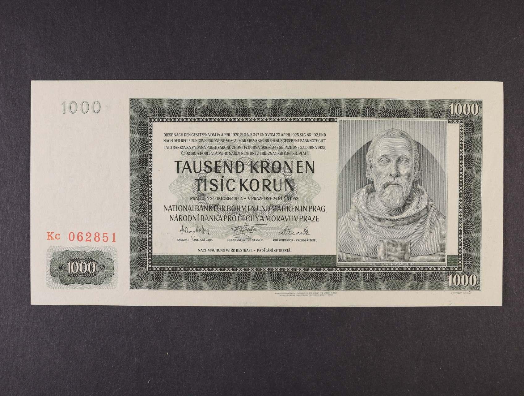 1000 K 24.10.1942 III.vydání série Kc, Ba. 39b, Pi. 15a