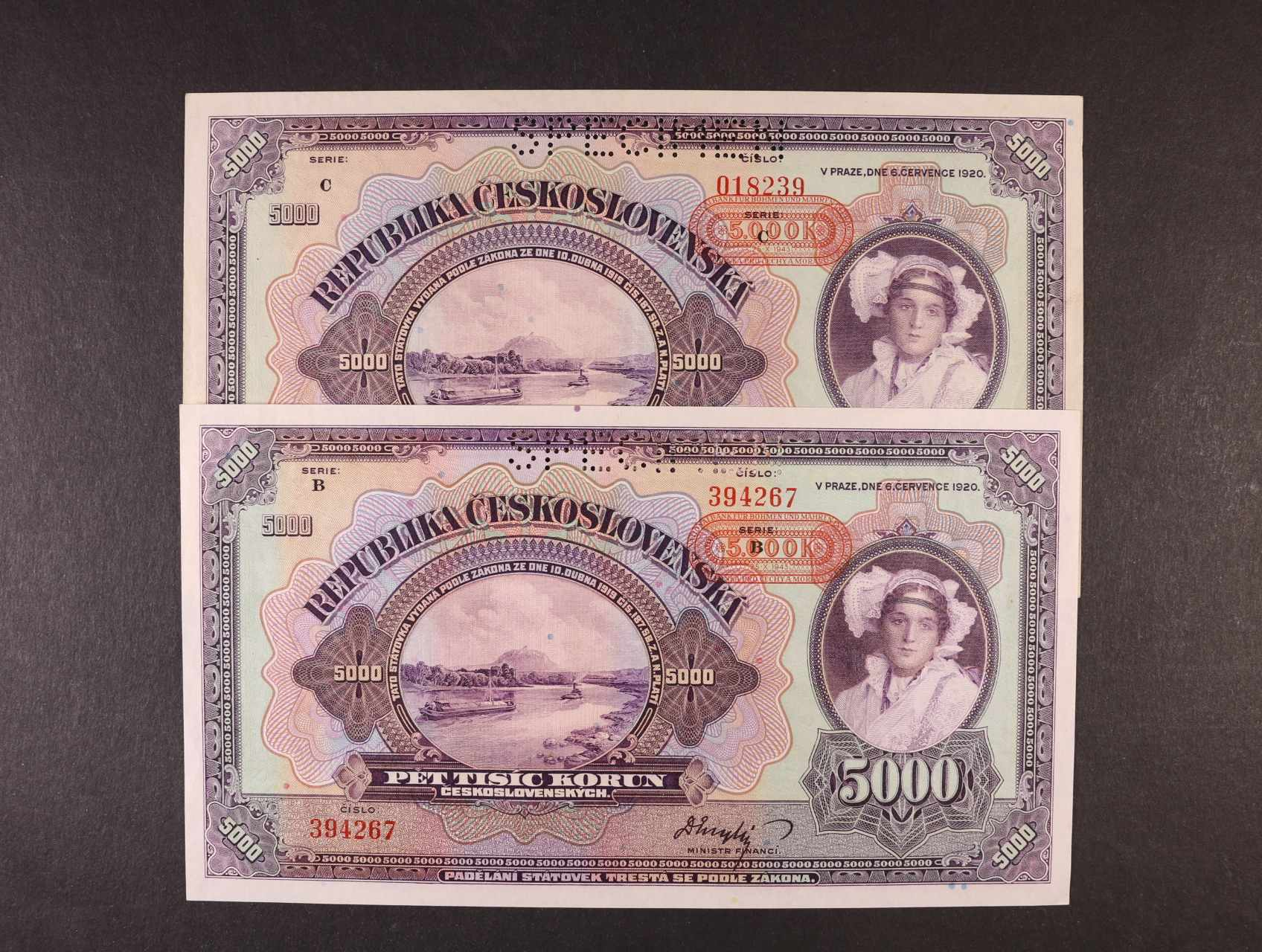 5000 K 6.7.1920 s přetiskem 25.10.1943 série B, C nevydaná, perf. SPECIMEN, Ba. N3, Pi. 16, 2ks