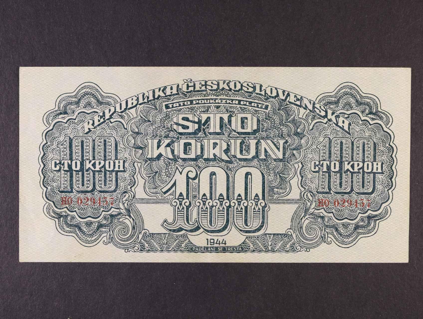 100 K 1944 série HO, číslovač 8, Ba. 59b, Pi. 48a
