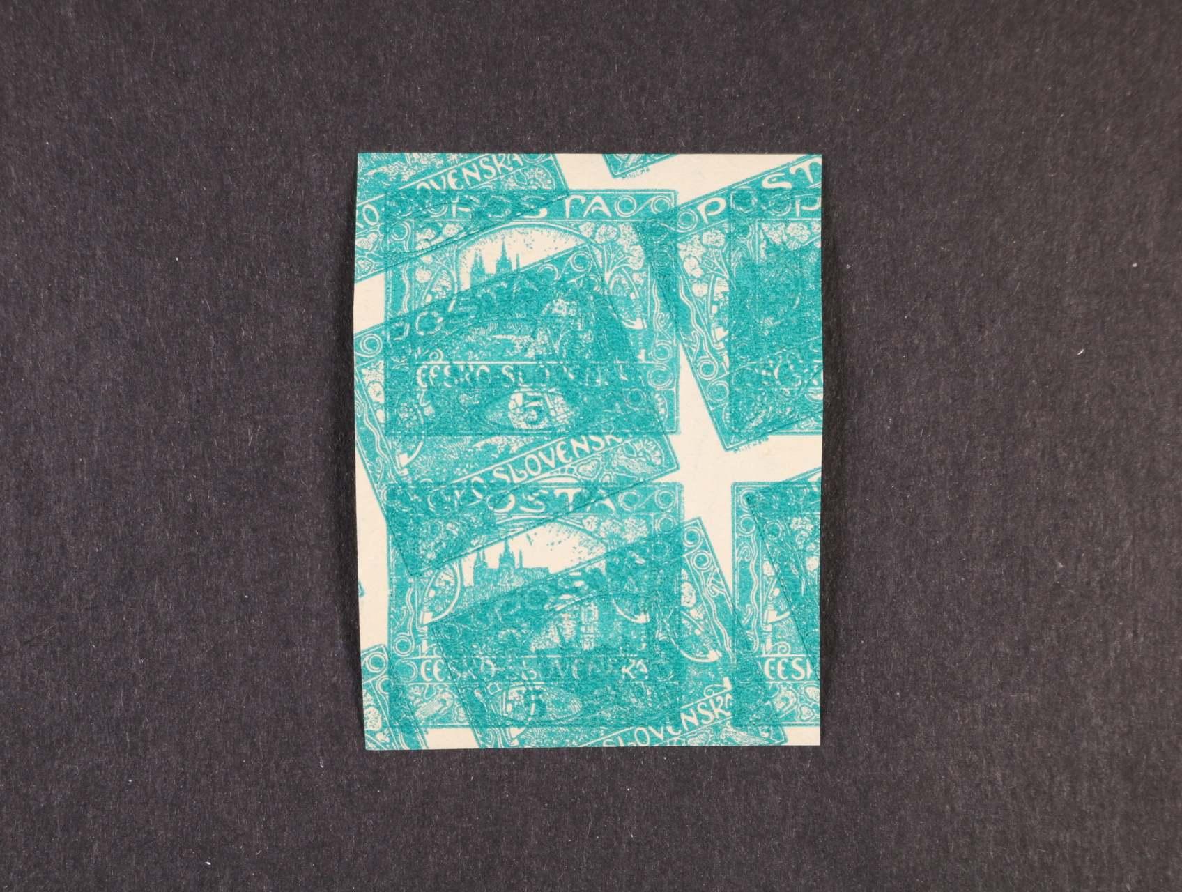 zn. č. 4b N tmavězelená z TD 5 - 8, ve svislé dvoupásce se šikmým dvojitým tiskem, zajímavé