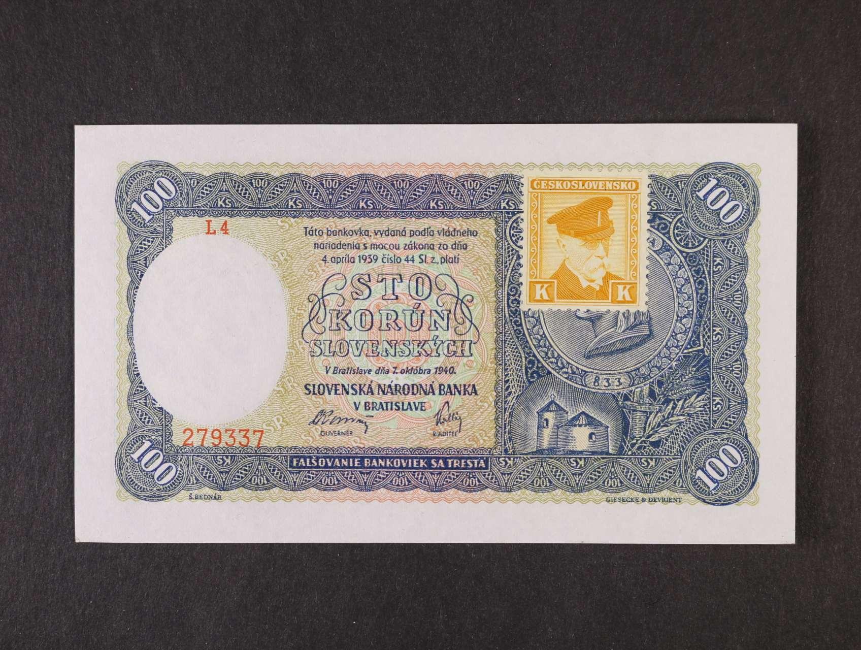 100 Ks 7.10.1940 série L 4 kolkovaná I.vydání, Ba. 62a, Pi. 51a