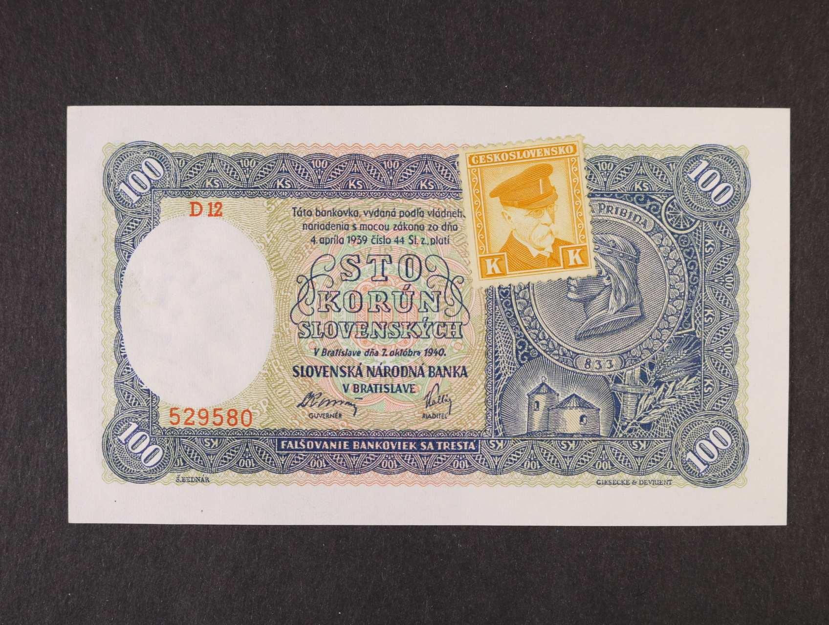 100 Ks 7.10.1940 série D 12 kolkovaná I.vydání, Ba. 62b, Pi. 51a