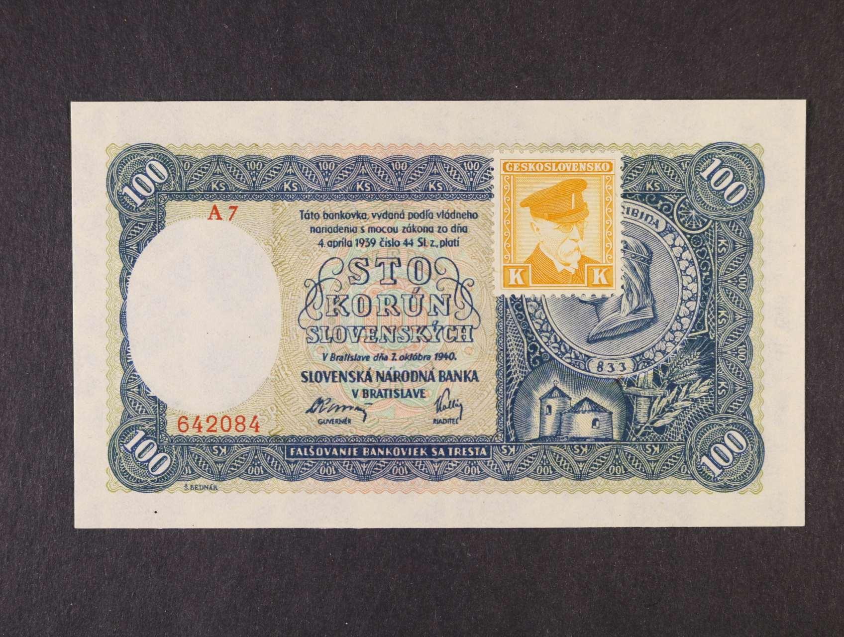 100 Ks 7.10.1940 série A 7 kolkovaná II.vydání, Ba. 63a, Pi. 52a