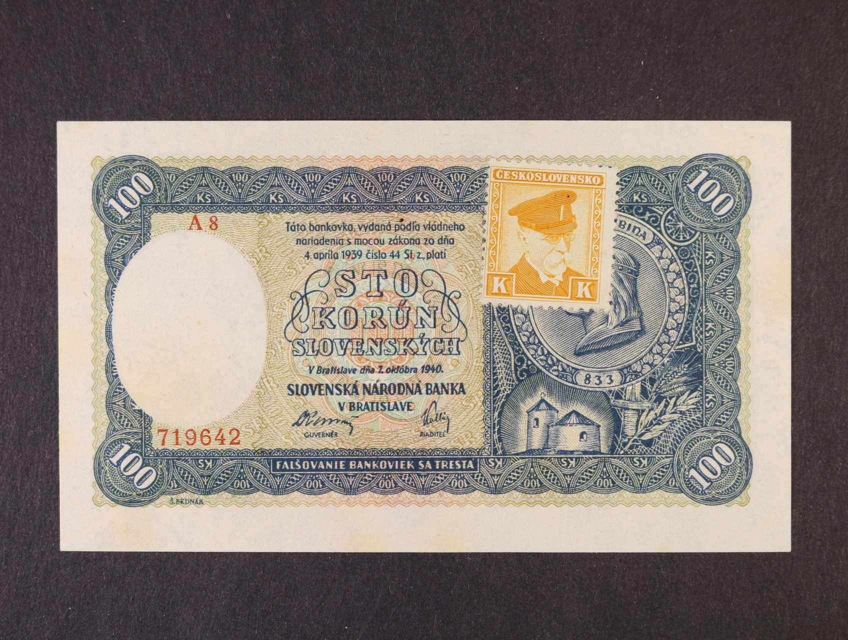 100 Ks 7.10.1940 série A 8 kolkovaná II.vydání, Ba. 63a, Pi. 52a