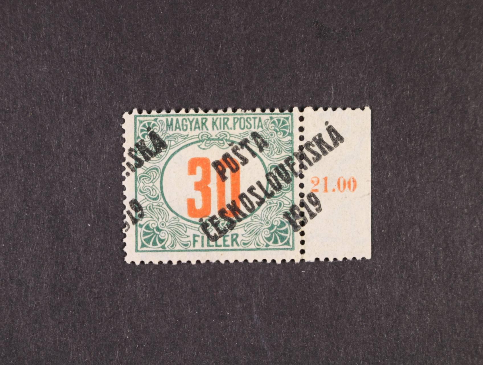 zn. č. 139, typ II s pravým okrajem a silným posunem přetisku vpravo až mimo zn. do okraje, zk. Stupka