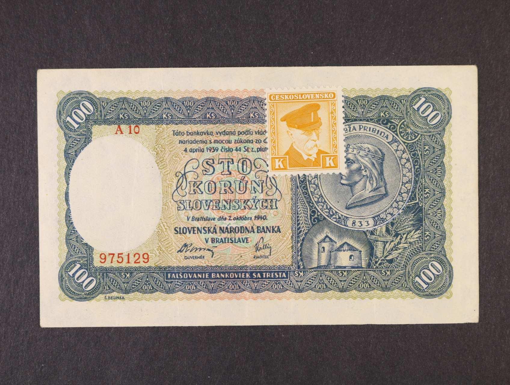 100 Ks 7.10.1940 série A 10 kolkovaná  II.vydání, Ba. 63b, Pi. 52