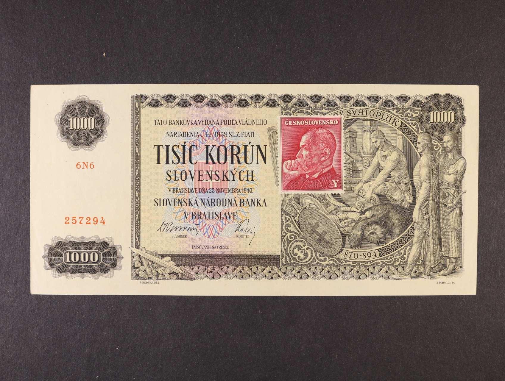 1000 Ks 25.11.1940 kolkovaná série 6N6, Ba. 65, Pi. 56a
