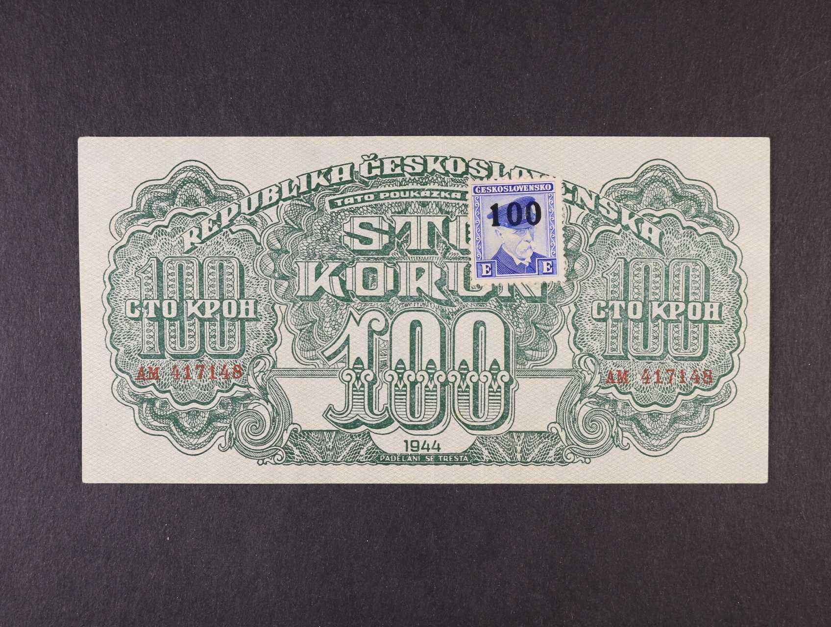 100 K 1944 série AM kolkovaná, číslovač 6b, Ba. 66a1, Pi. 53a