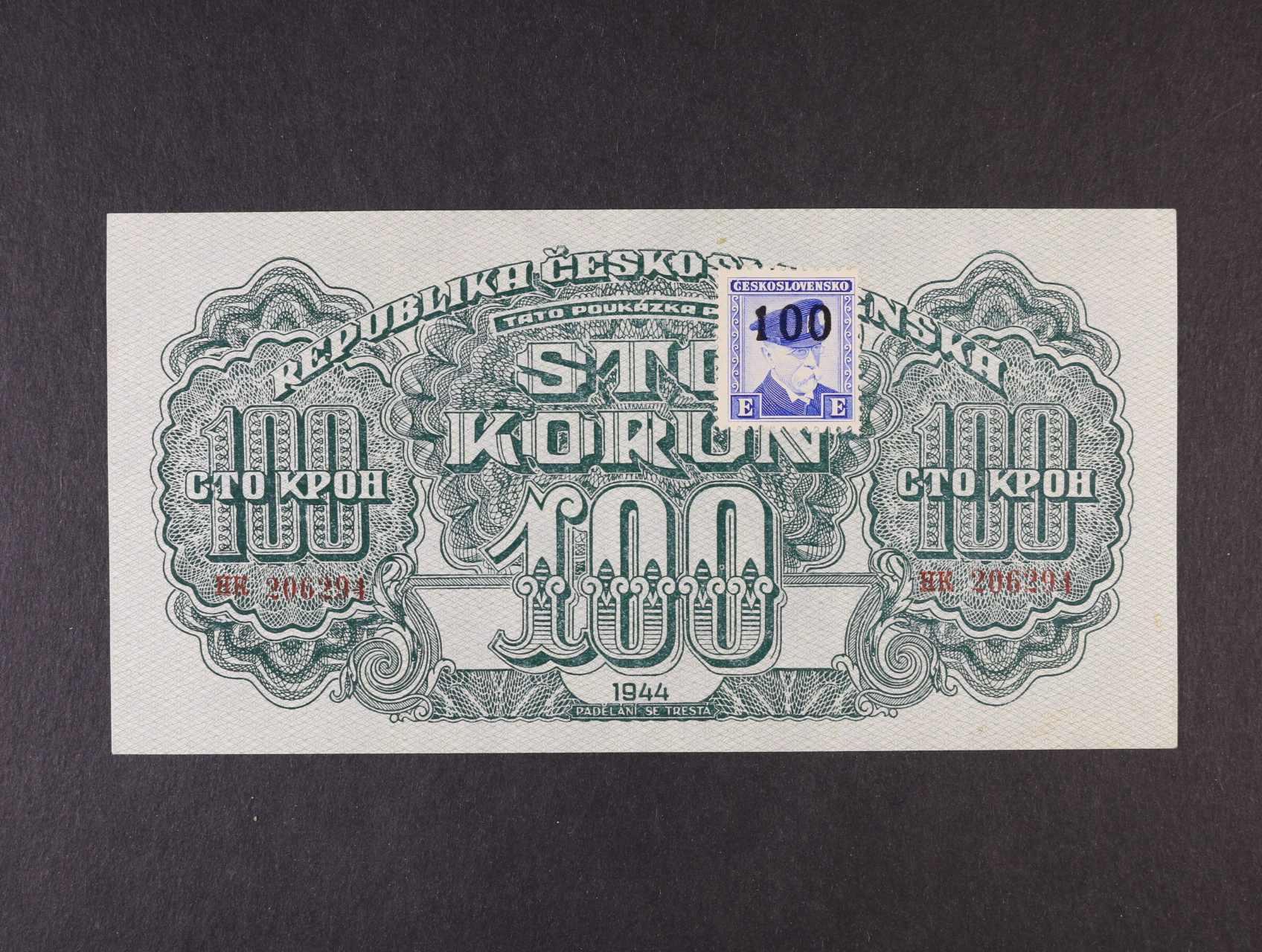 100 K 1944 série HK kolkovaná, číslovač 8, Ba. 66b, Pi. 53a