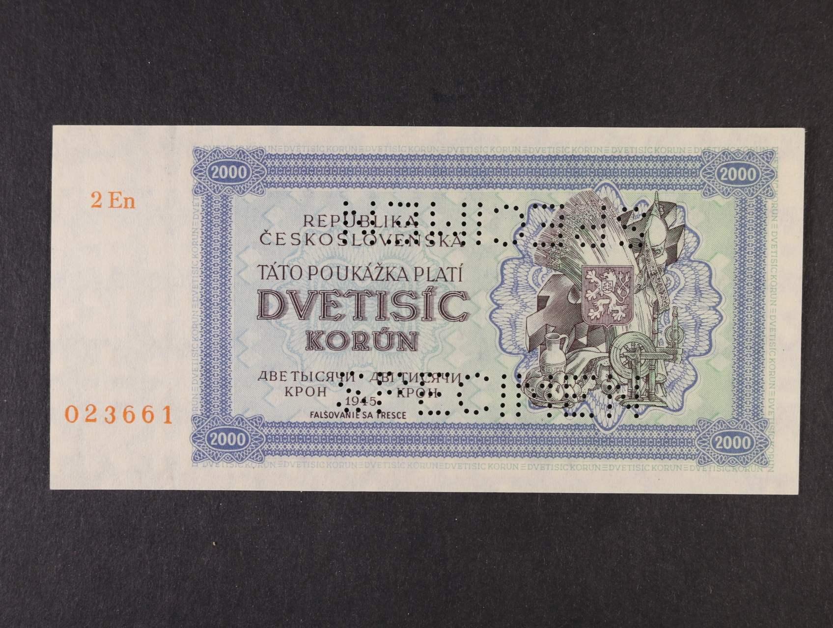2000 K 1945 série 2En 023661 poukázka s 2x perf. SPECIMEN - bankovní vzor, poloha vodoznaku A, Ba. 69a, Pi. 50As, Ka. 66a