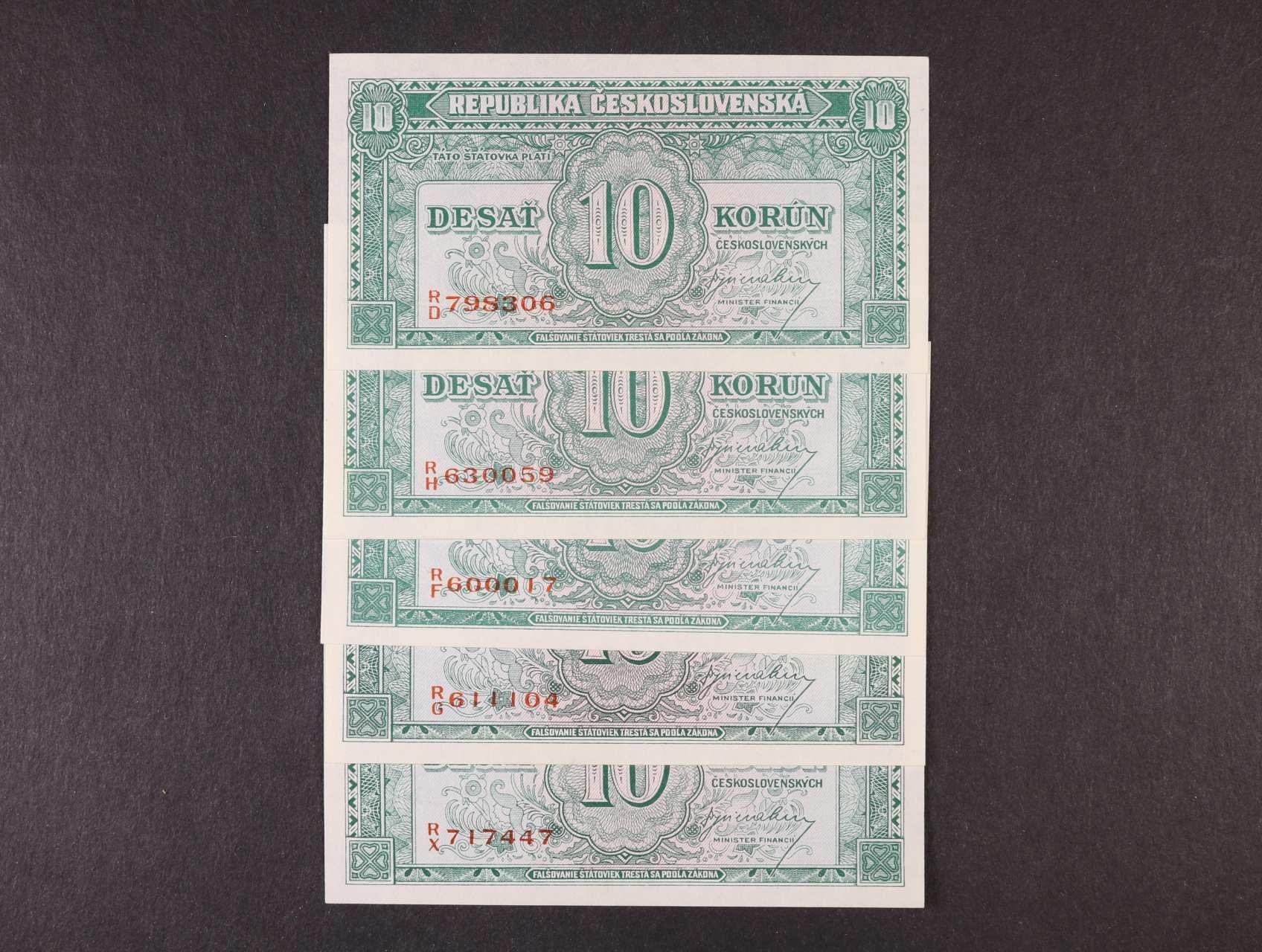 10 Kčs 1945 série R/D, R/H, R/F, R/G, R/X , Ba. 71, Pi. 60a, 5ks