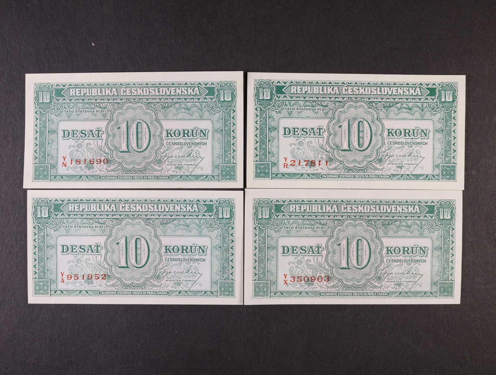 10 Kčs 1945 série Y/A, Y/N, Y/R, Y/X, Ba. 71, Pi. 60a, 4ks