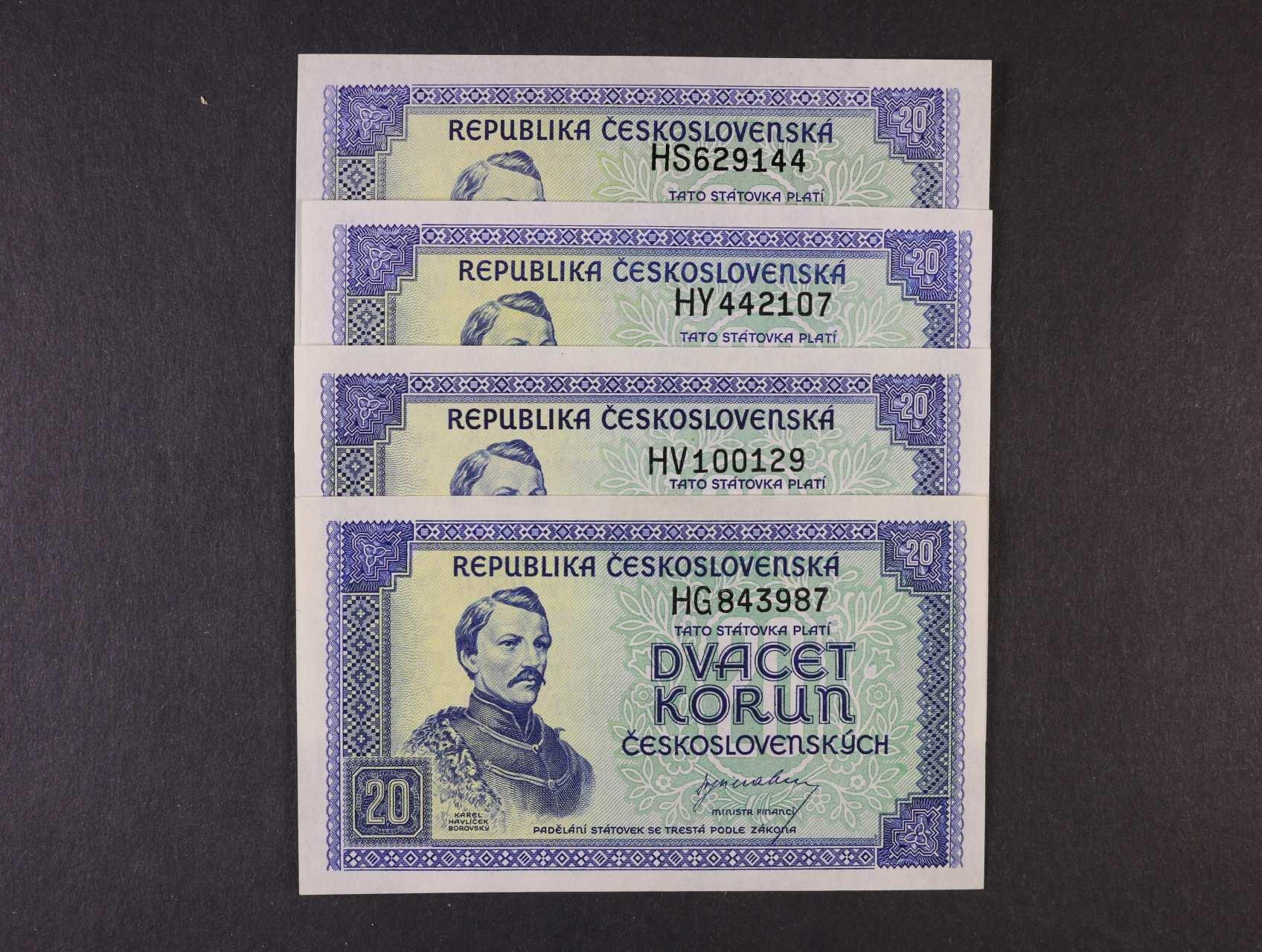 20 Kčs 1945 série HG, HS, HV, HY, Ba. 72, Pi. 61a, 4ks
