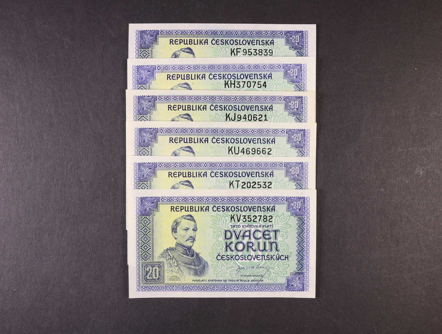 20 Kčs 1945 série KF, KH, KJ, KT, KU, KV, Ba. 72, Pi. 61a, 6ks