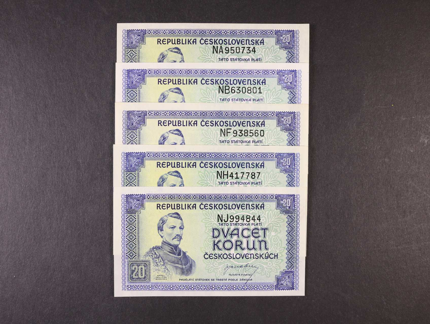 20 Kčs 1945 série NA, NB, NF, NH, NJ, Ba. 72, Pi. 61a, 5ks