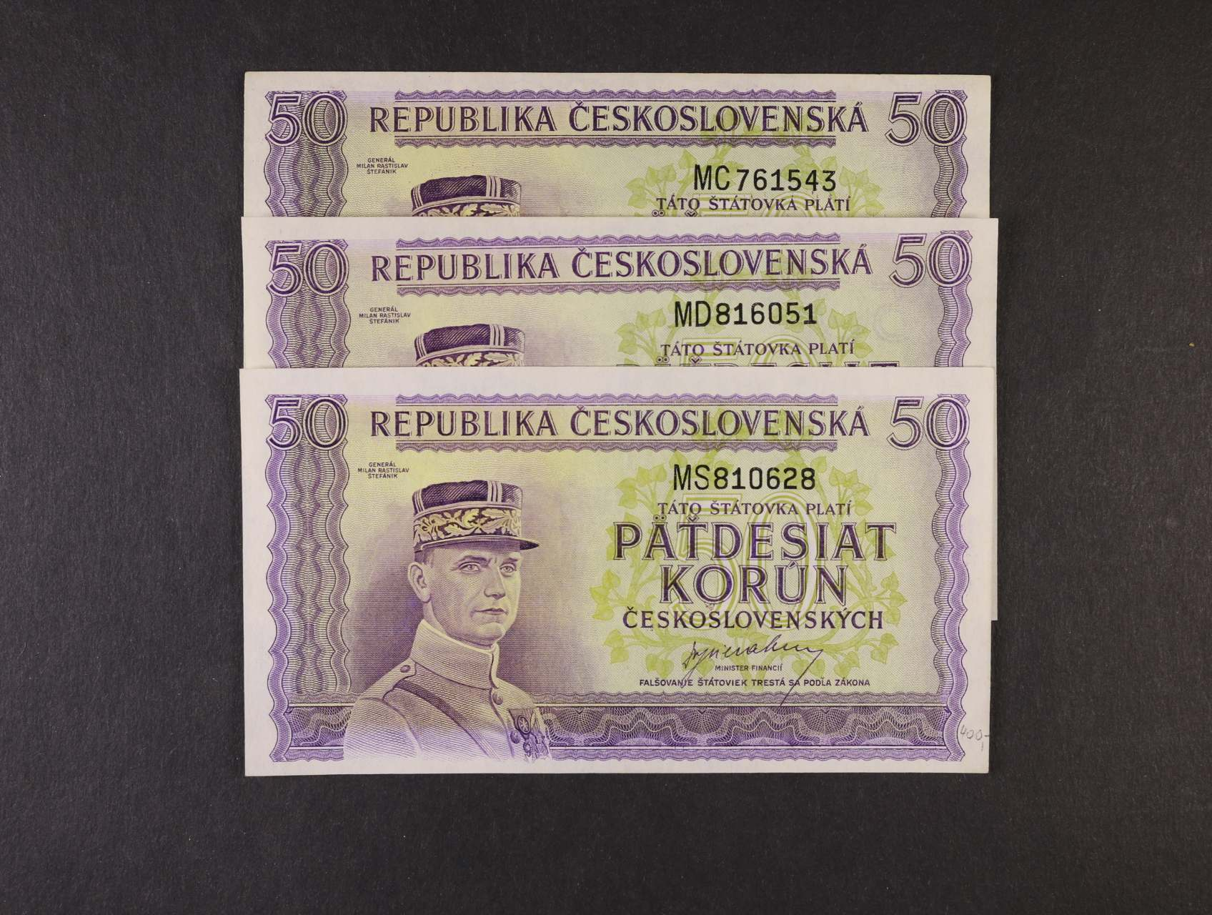 50 Kčs 1945 série MC, MD, MS, Ba. 73, Pi. 62a, 3ks