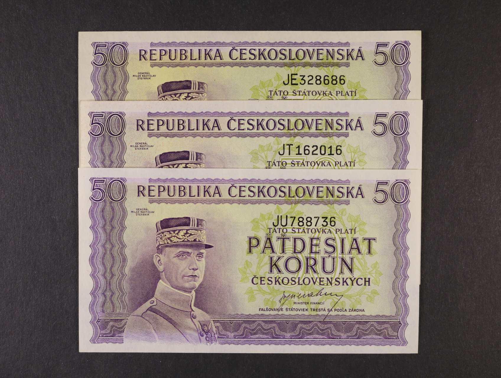 50 Kčs 1945 série JE, JT, JU, Ba. 73, Pi. 62a, 3ks