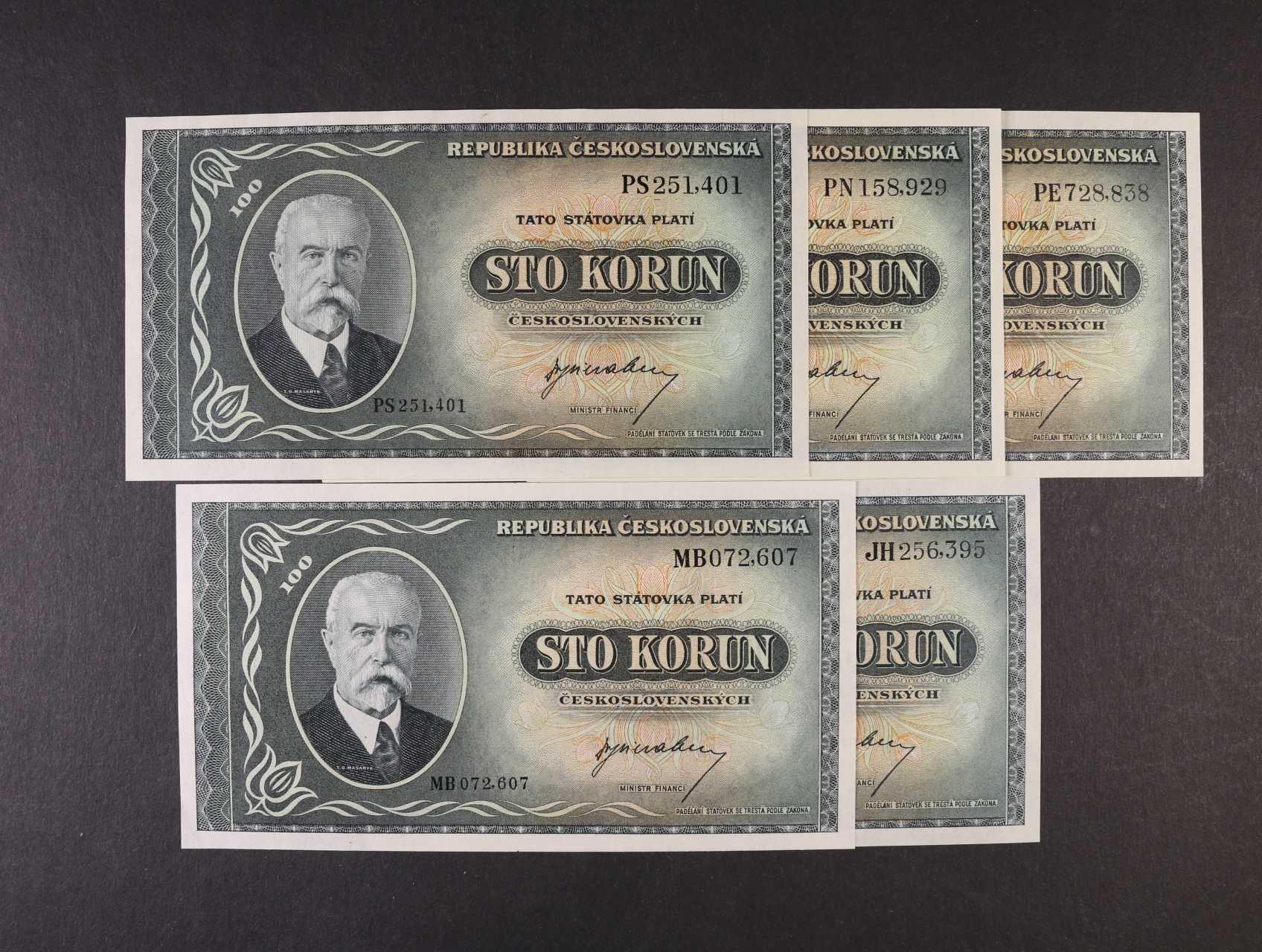 100 Kčs 1945 série JH, MB, PE, PN, PS, Ba. 74, Pi. 63a, 5ks