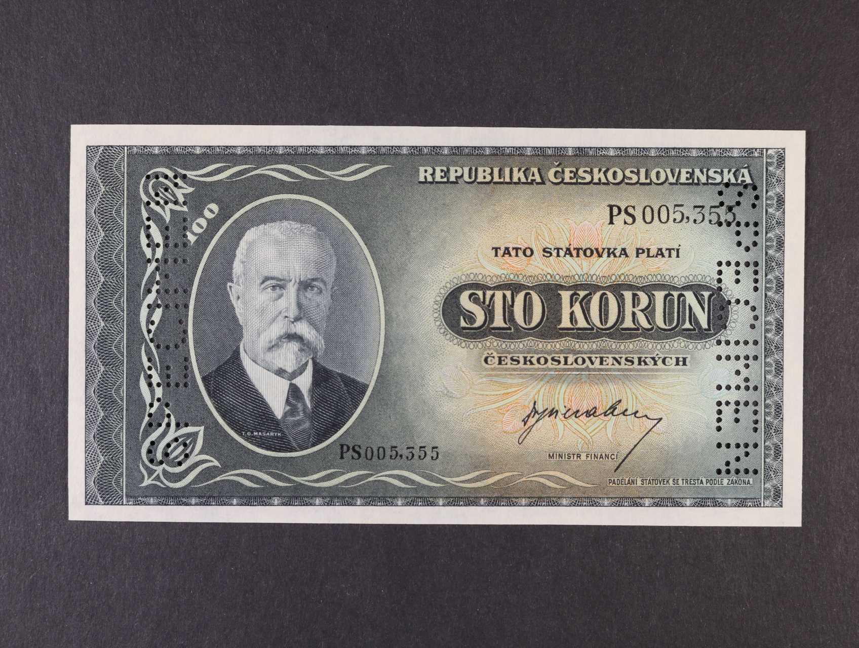 100 Kčs 1945 série PS bankovní vzor s 2x svisle perf. SPECIMEN, Ba. 74, Pi. 63s, Kar. 71c