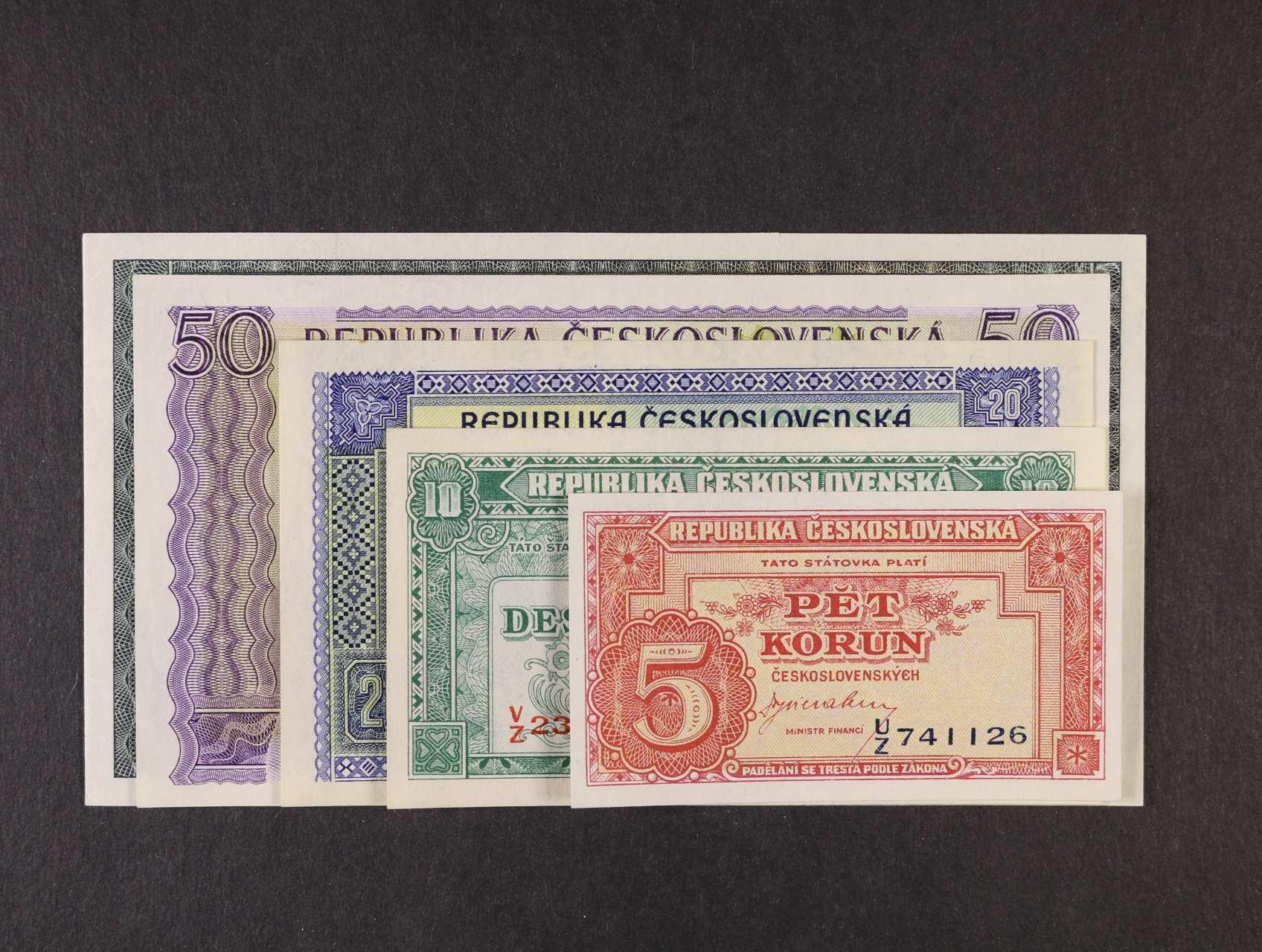 5, 10, 20, 50, 100 Kčs 1945, Ba. 70 - 74, Pi. 59a - 63a