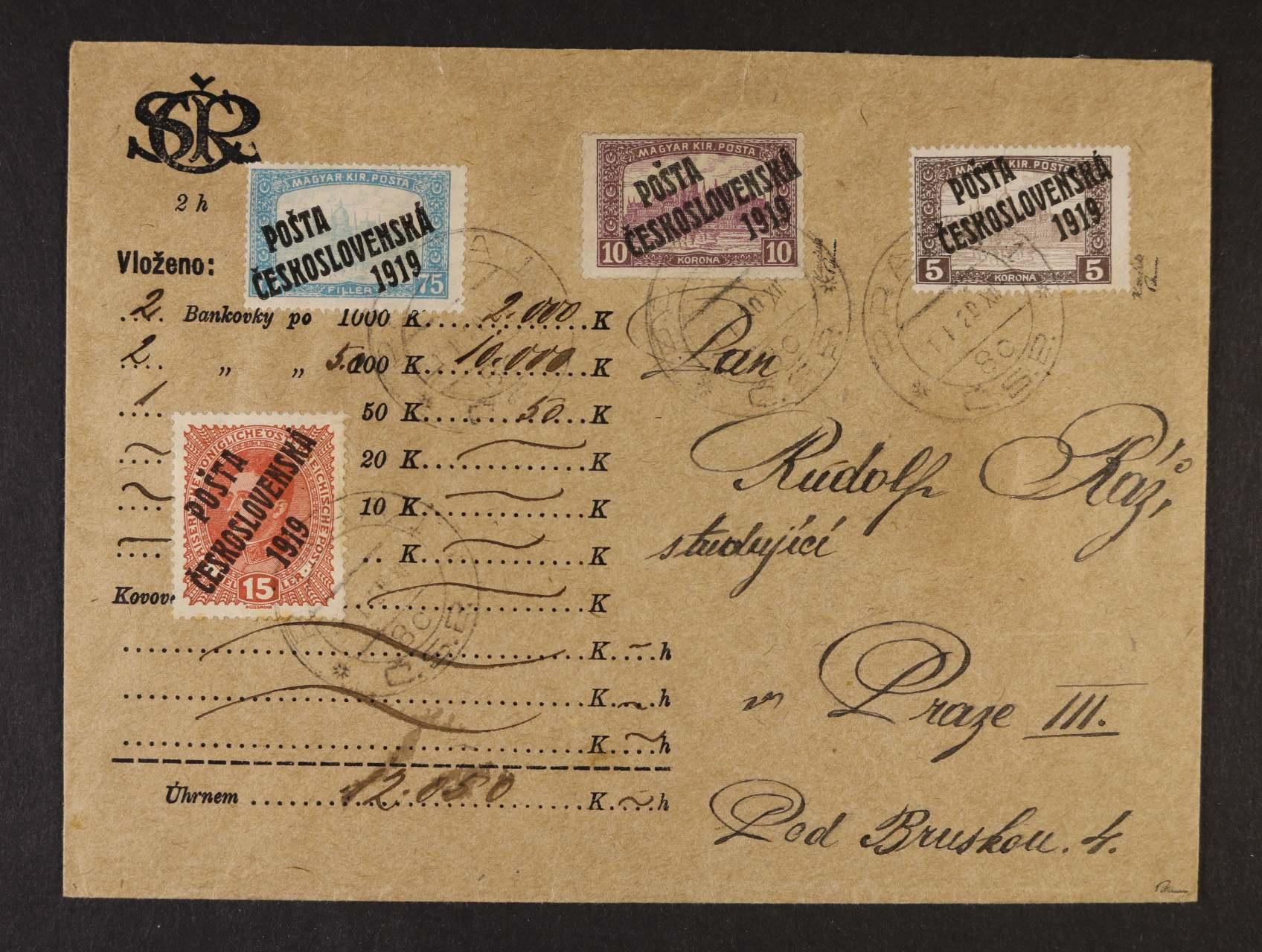 Cenné psaní na částku 12,050K frank. zn. č. 38, 112, 117 a 118, DR PRAHA 1 1.1.1920, zk. Karásek, Pittermann