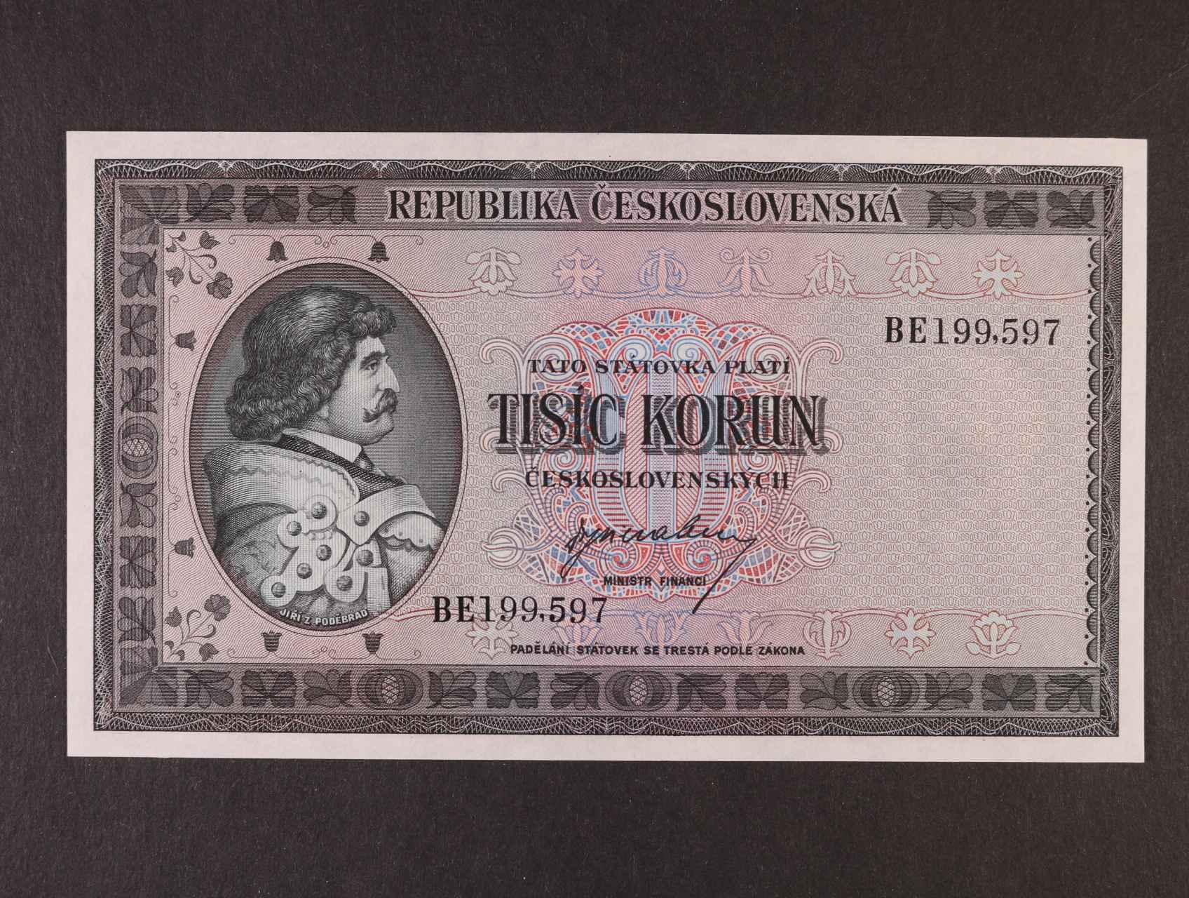 1000 Kčs 1945 série BE, Ba. 76, Pi. 65a